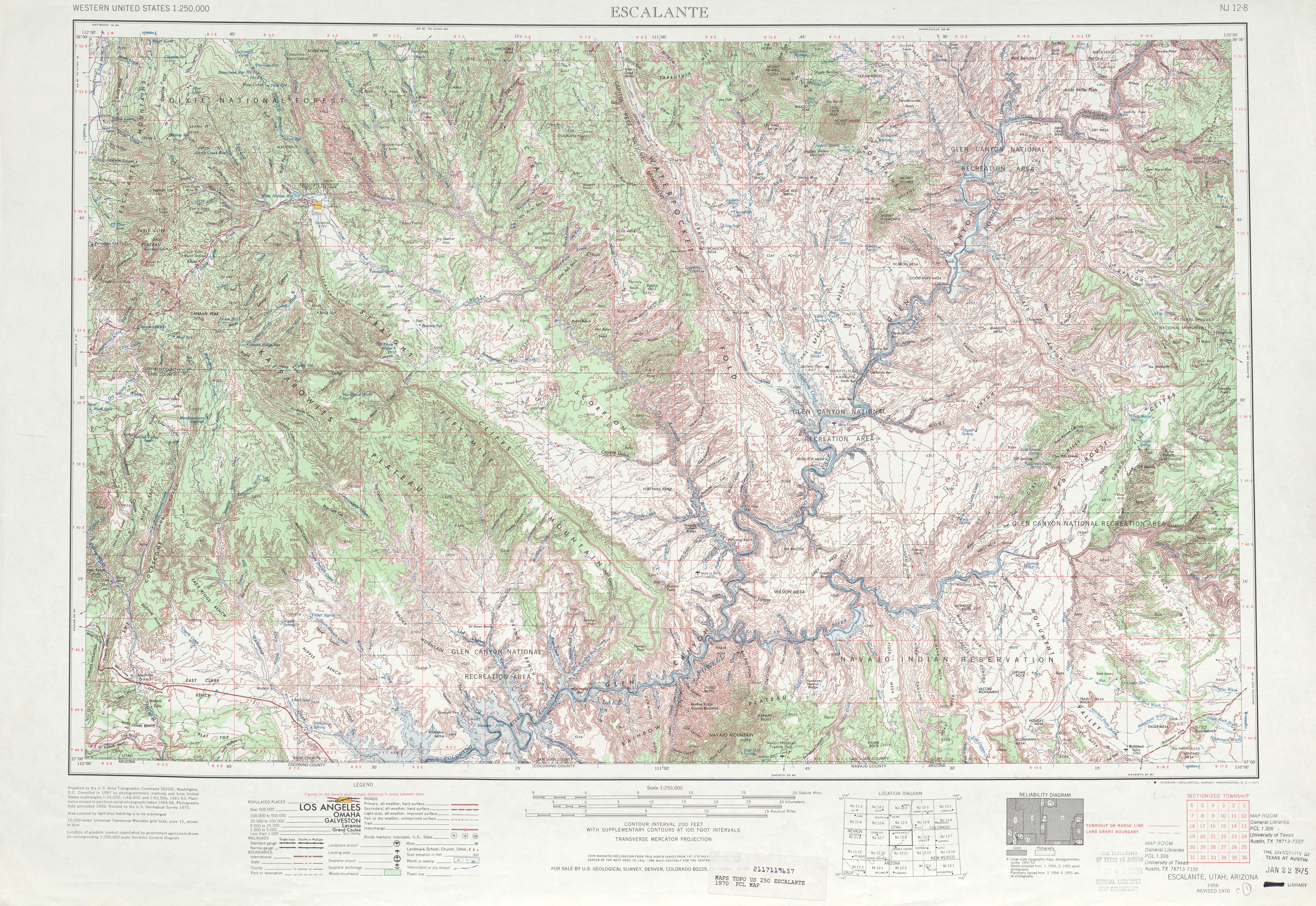 Hoja Escalante del Mapa Topográfico de los Estados Unidos 1970