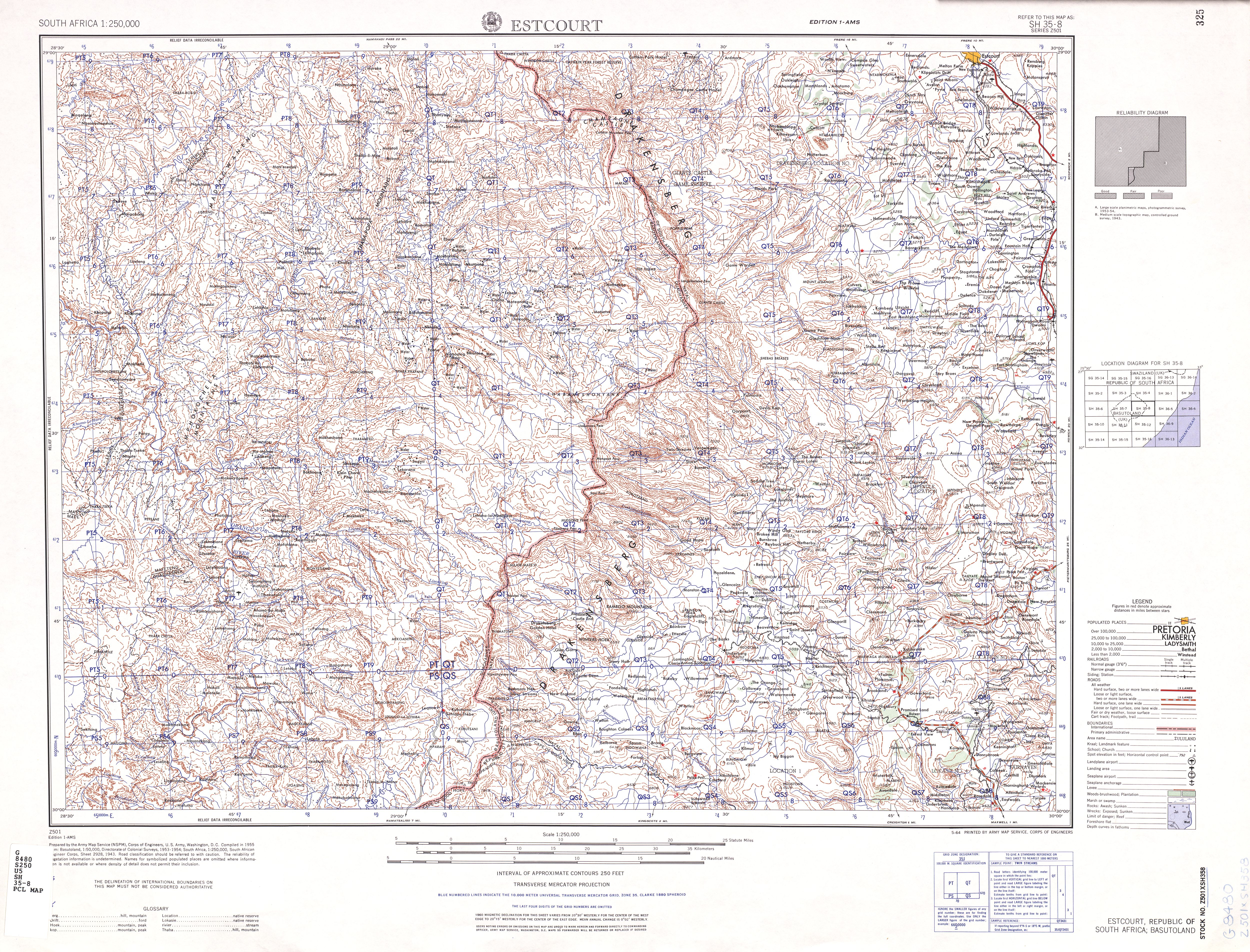 Estcourt Topographic Map Sheet, Southern Africa 1954