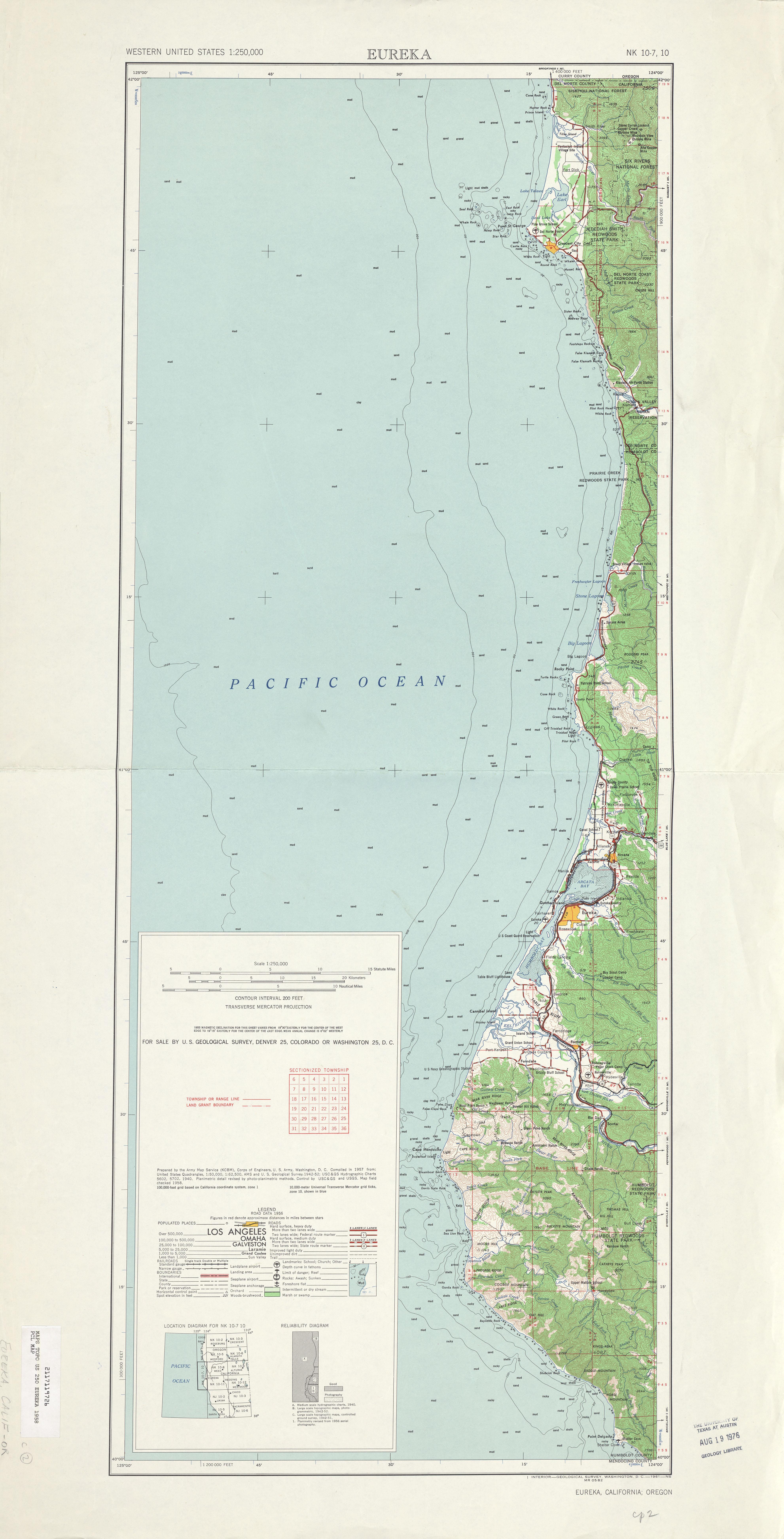 Hoja Eureka del Mapa Topográfico de los Estados Unidos 1958