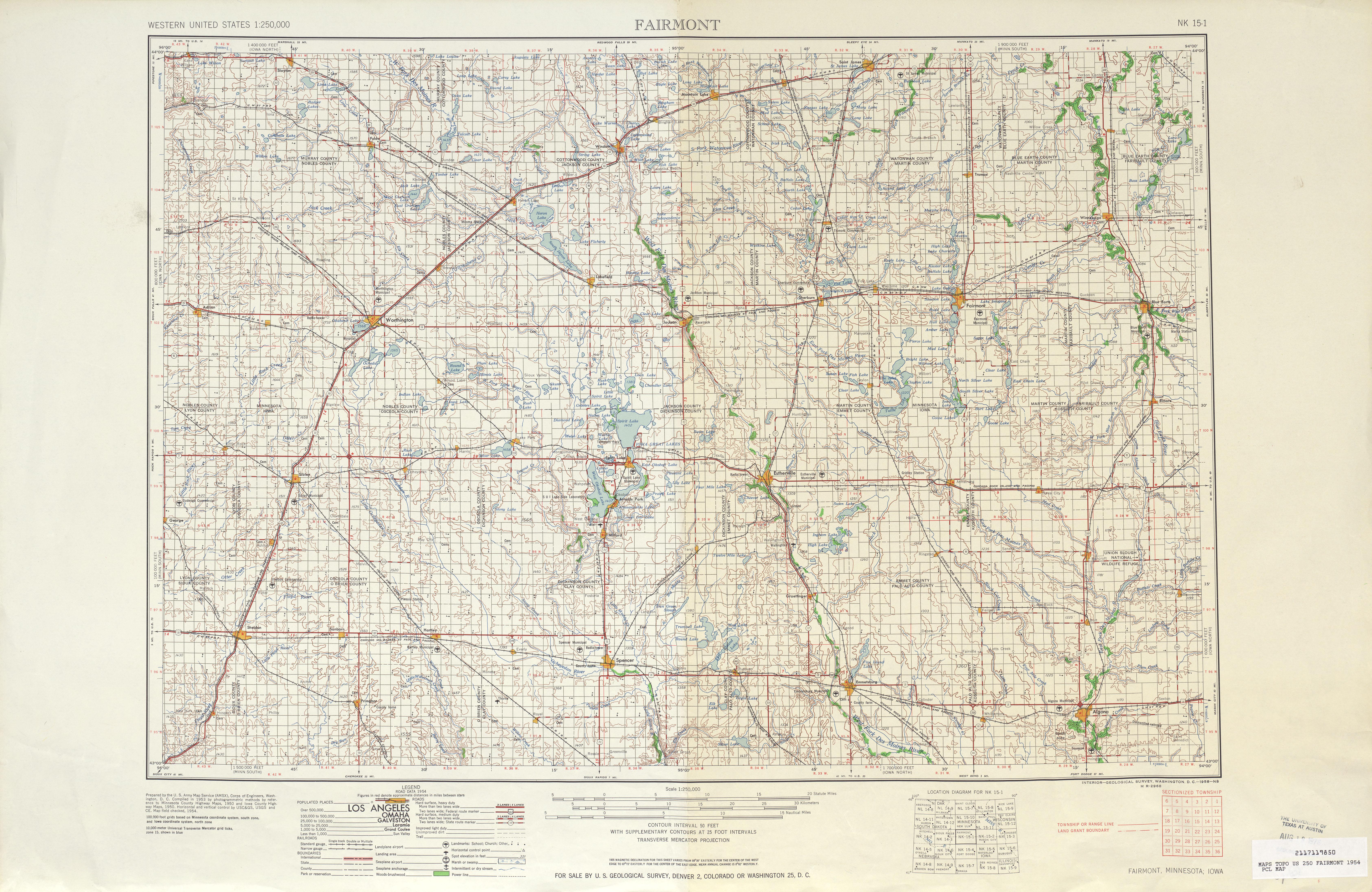 Hoja Fairmont del Mapa Topográfico de los Estados Unidos 1954