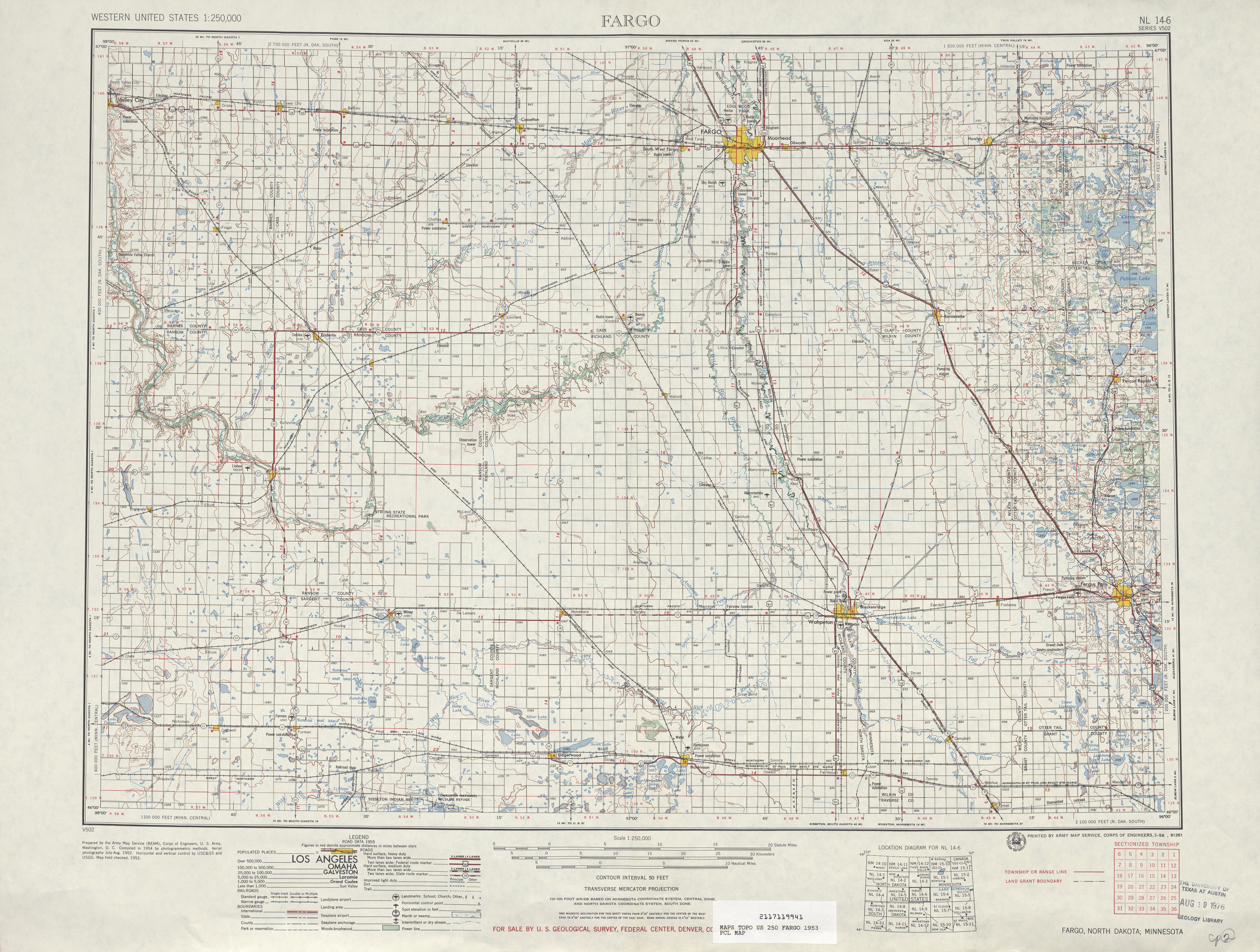 Fargo Topographic Map Sheet, United States 1953