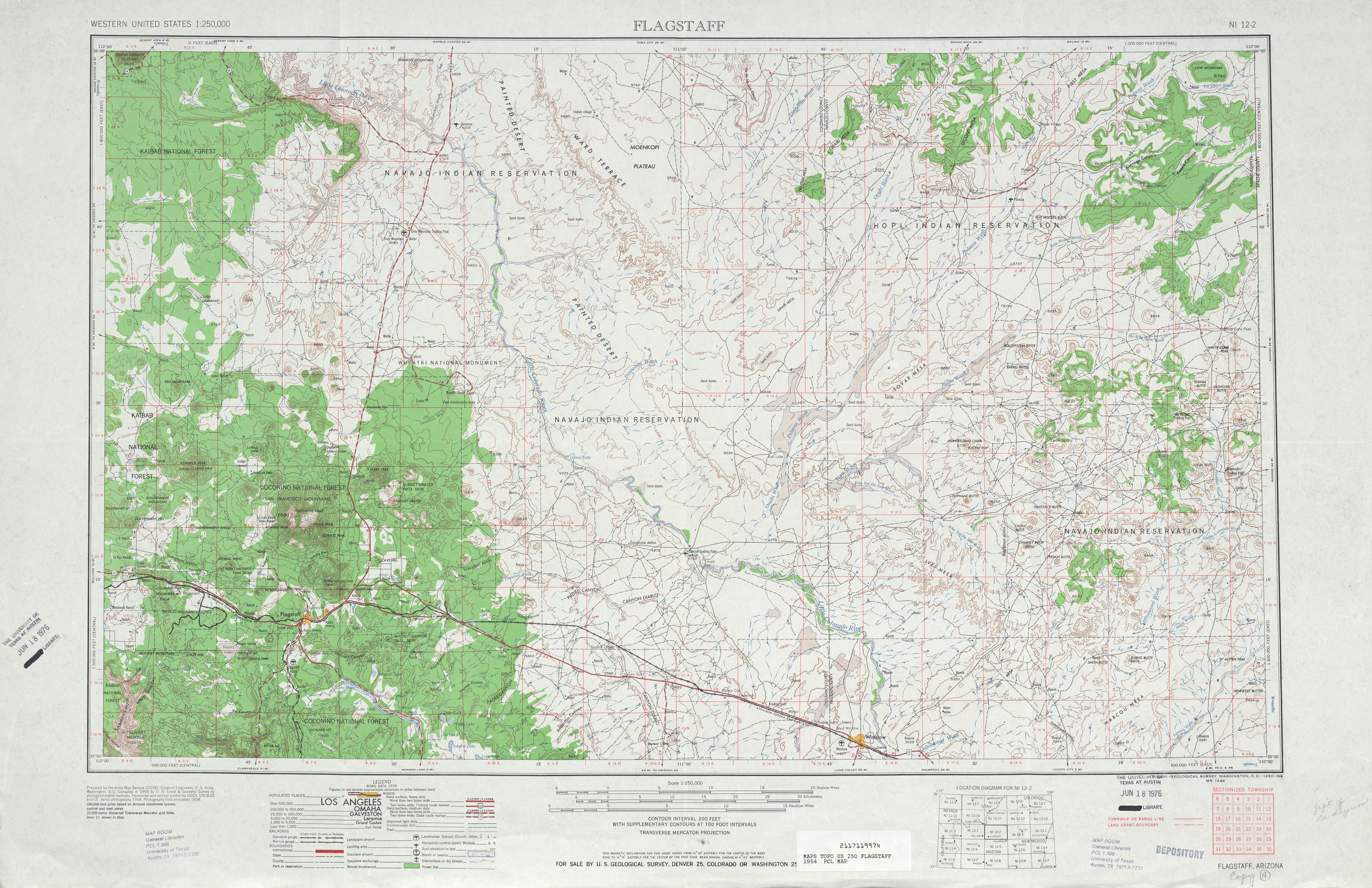 Flagstaff Topographic Map Sheet, United States 1954