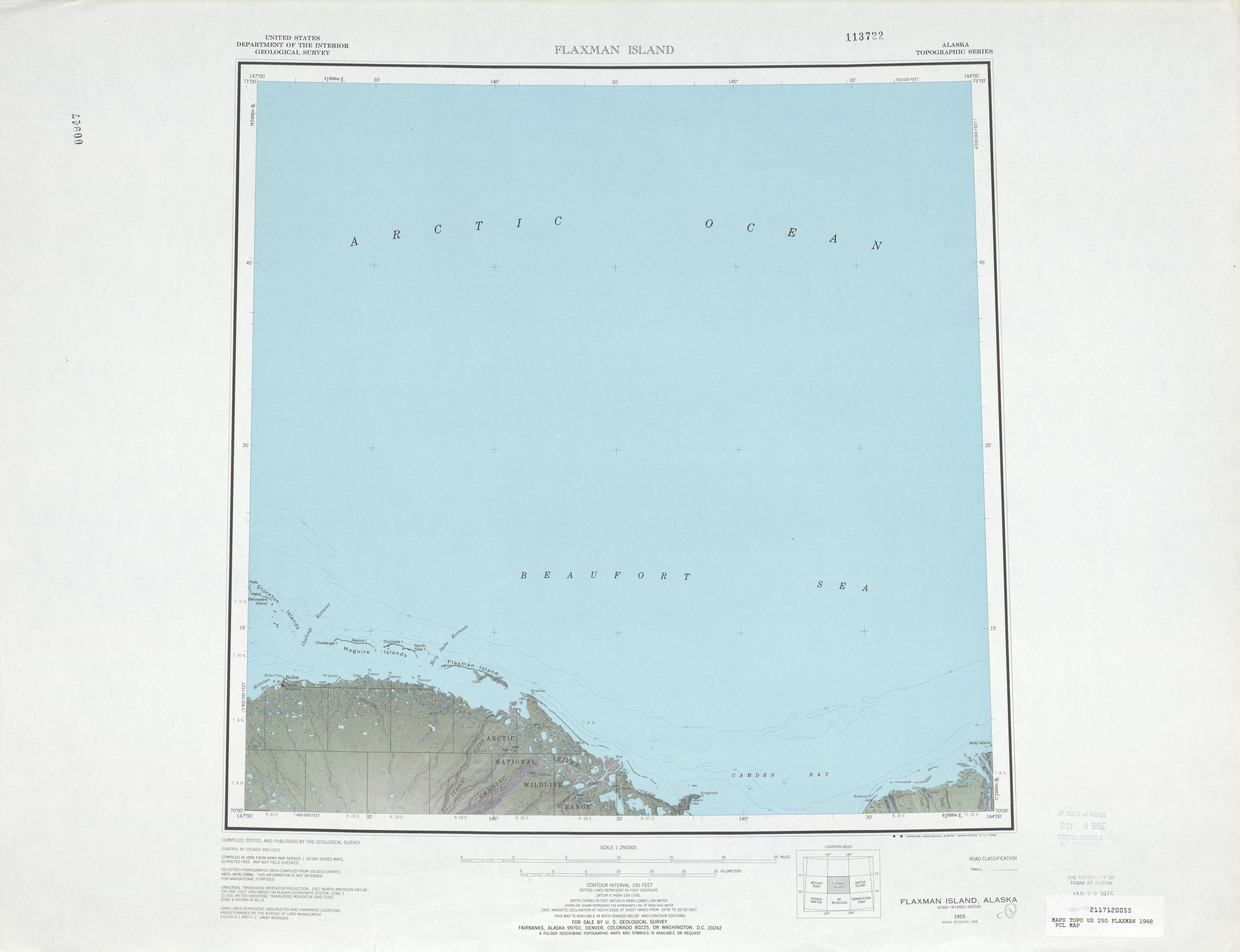 Hoja Flaxman Island del Mapa de Relieve Sombreado de los Estados Unidos 1968