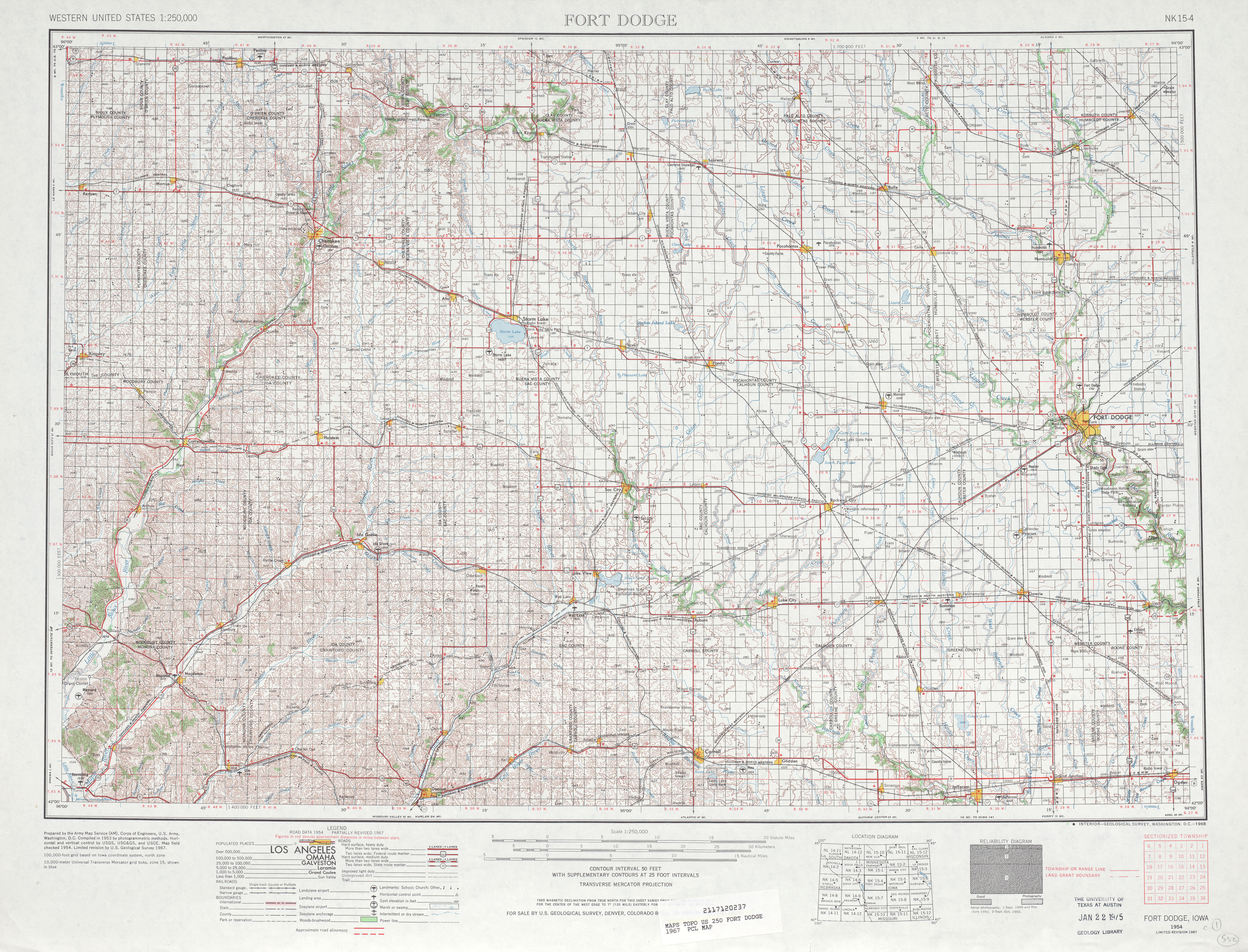 Fort Dodge Topographic Map Sheet, United States 1967