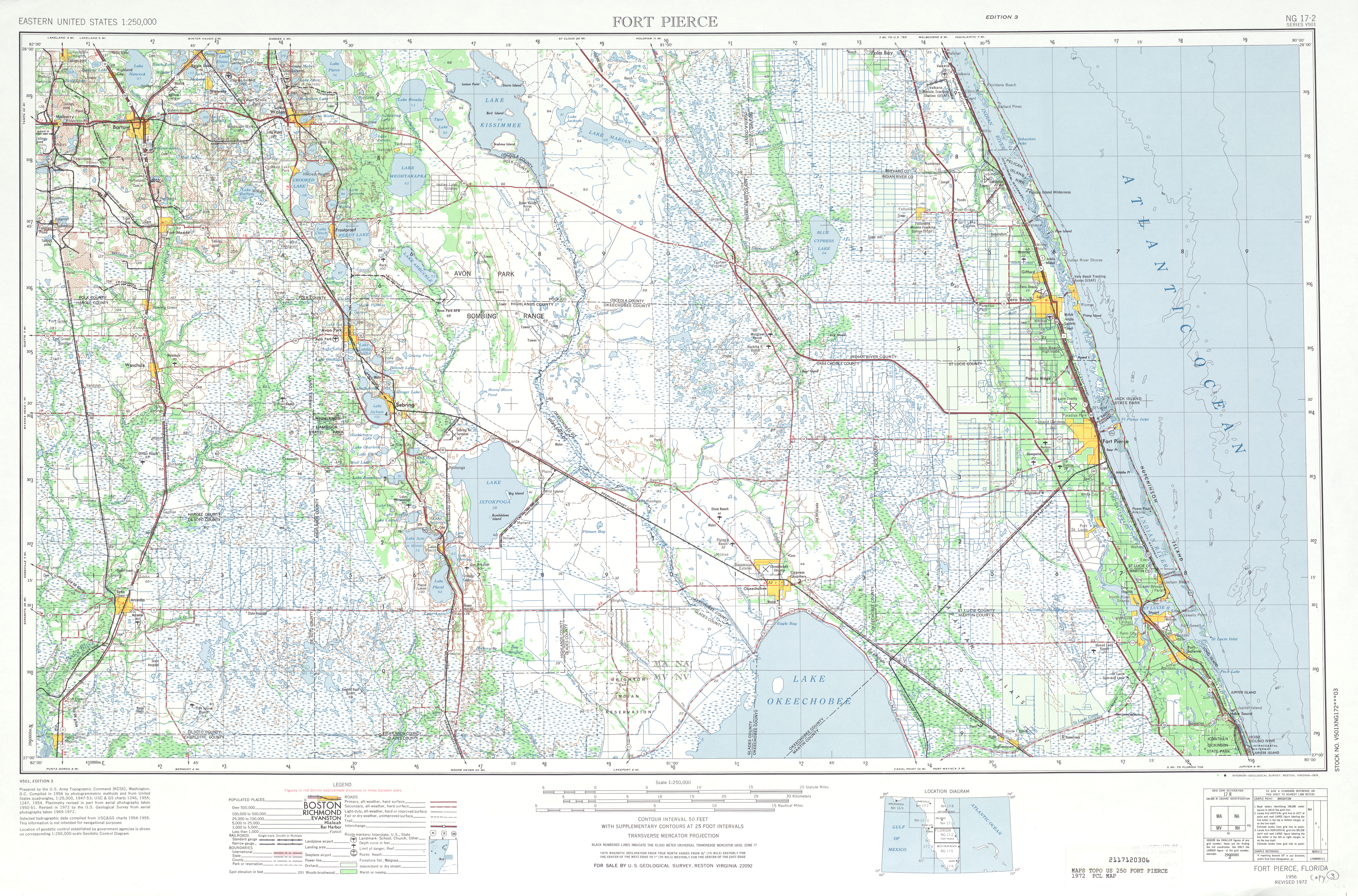 Fort Pierce Topographic Map Sheet, United States 1972