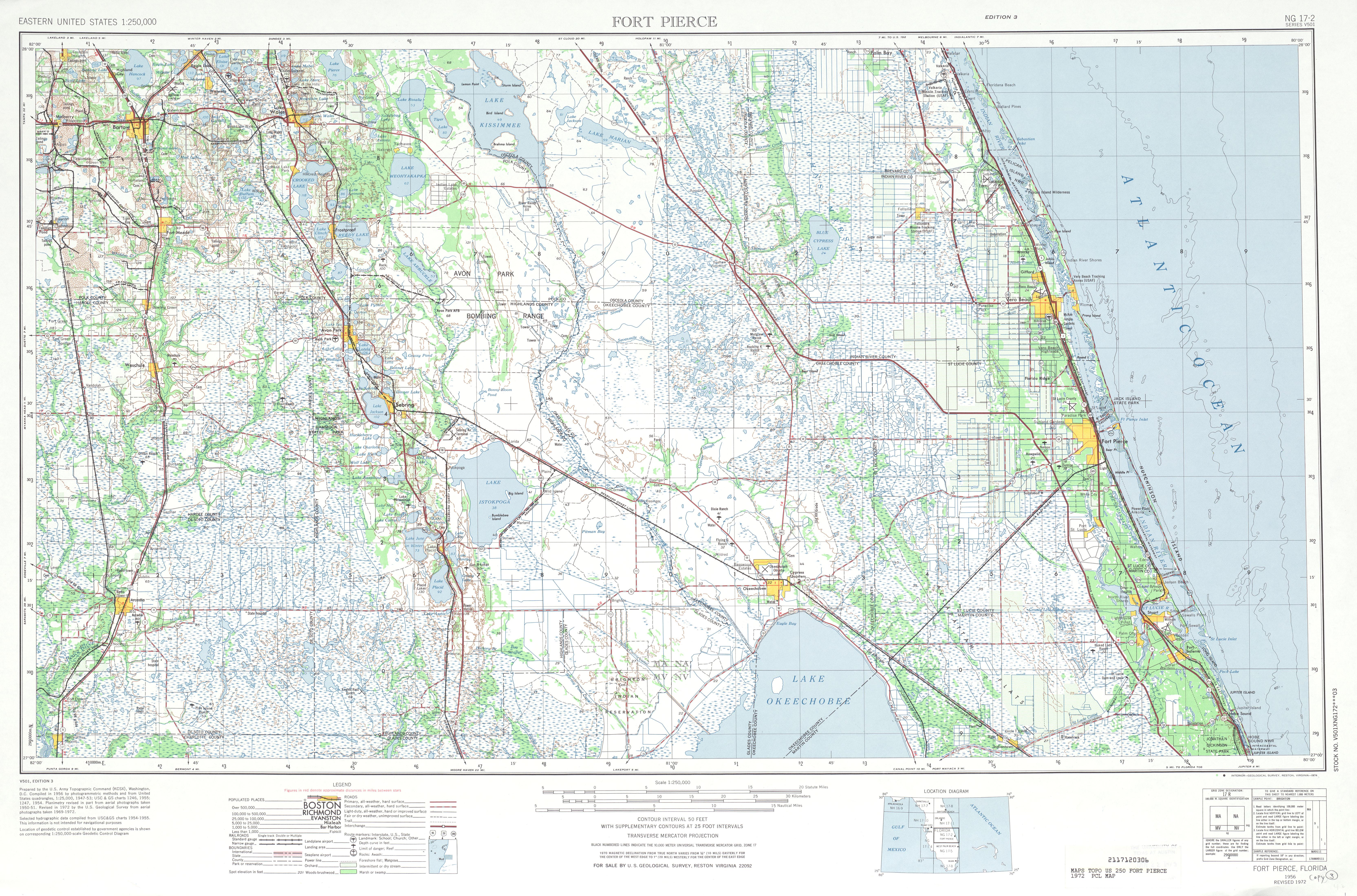 Hoja Fort Pierce del Mapa Topográfico de los Estados Unidos 1972