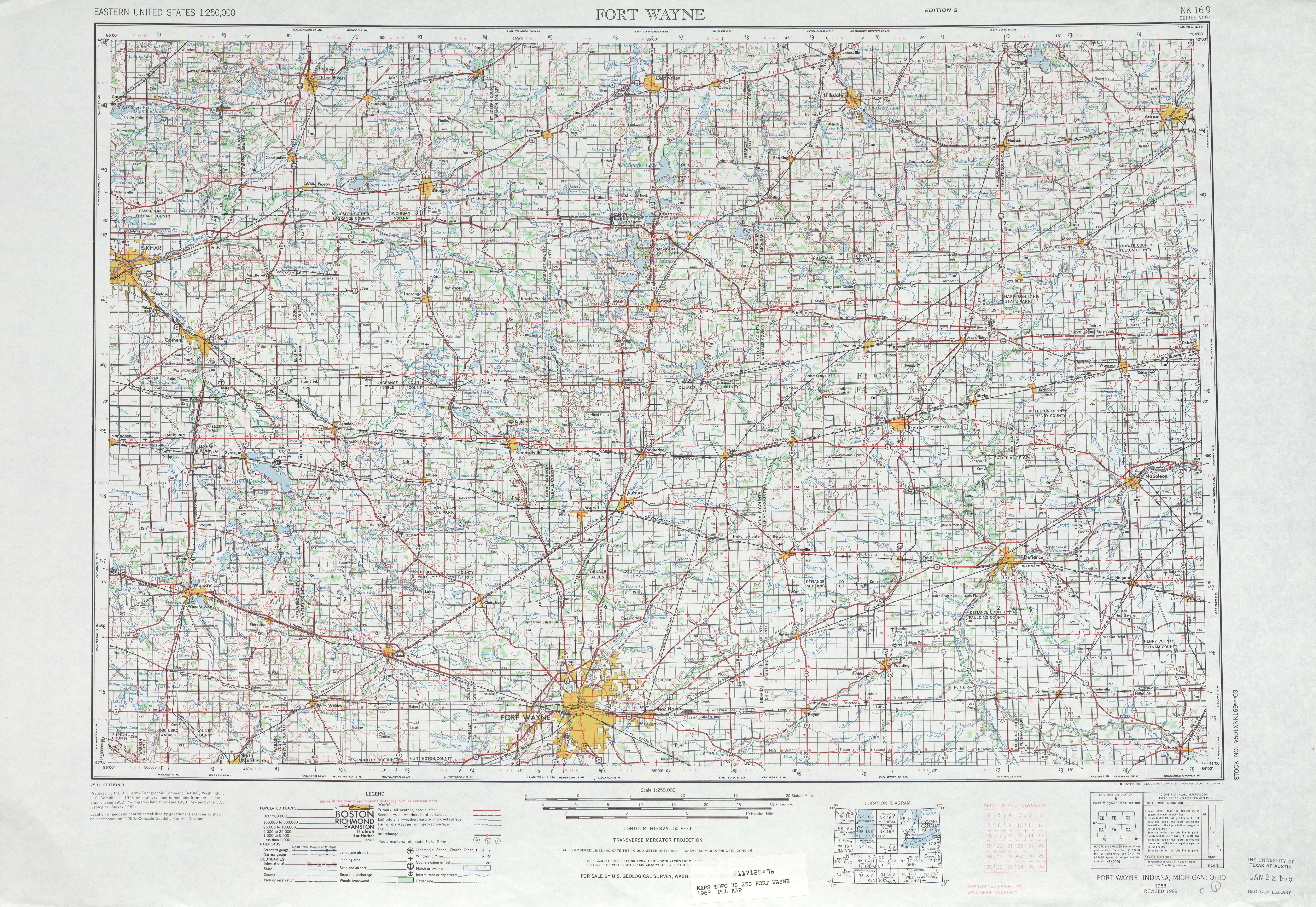 Hoja Fort Wayne del Mapa Topográfico de los Estados Unidos 1969