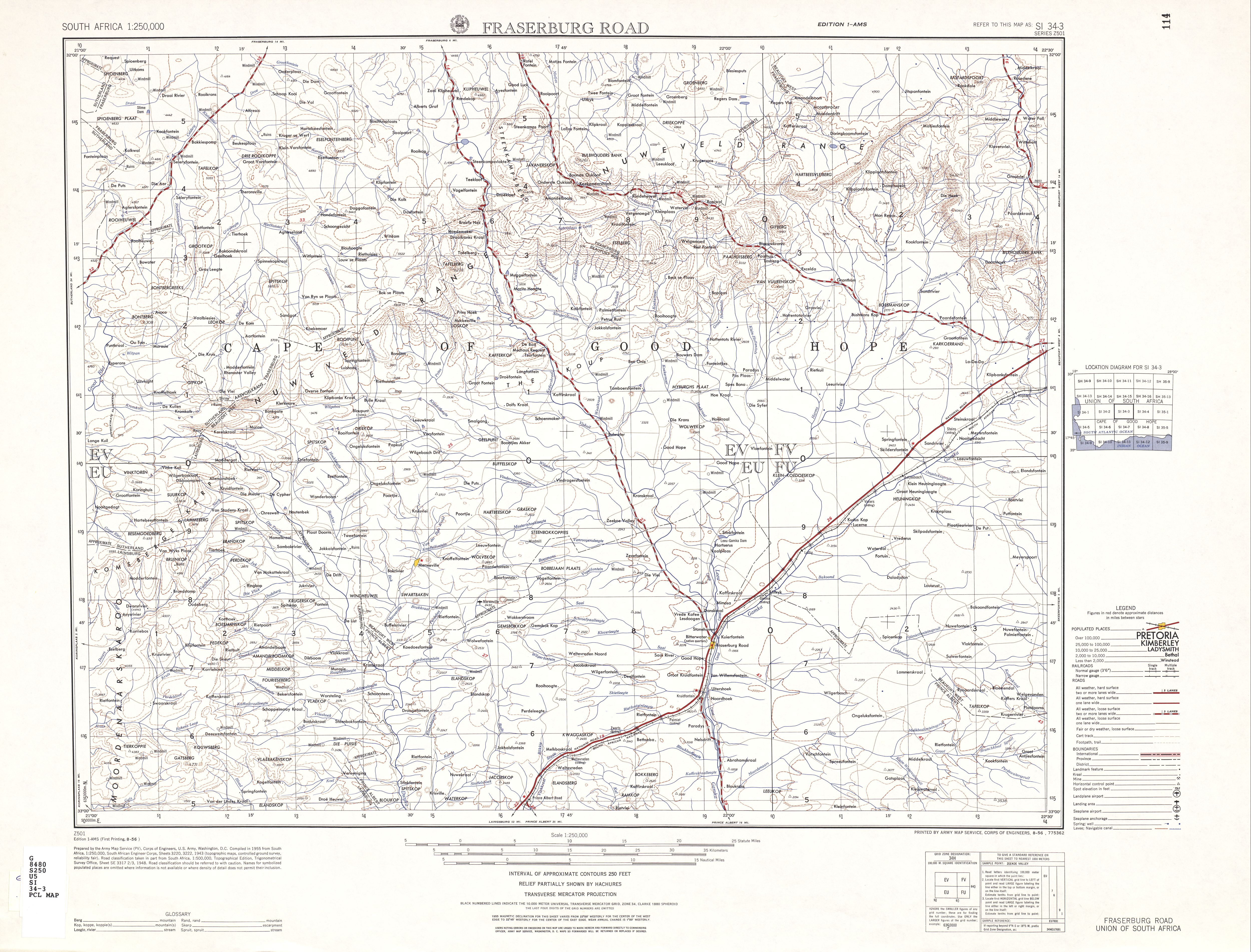 Fraserburg Road Topographic Map Sheet, Southern Africa 1954