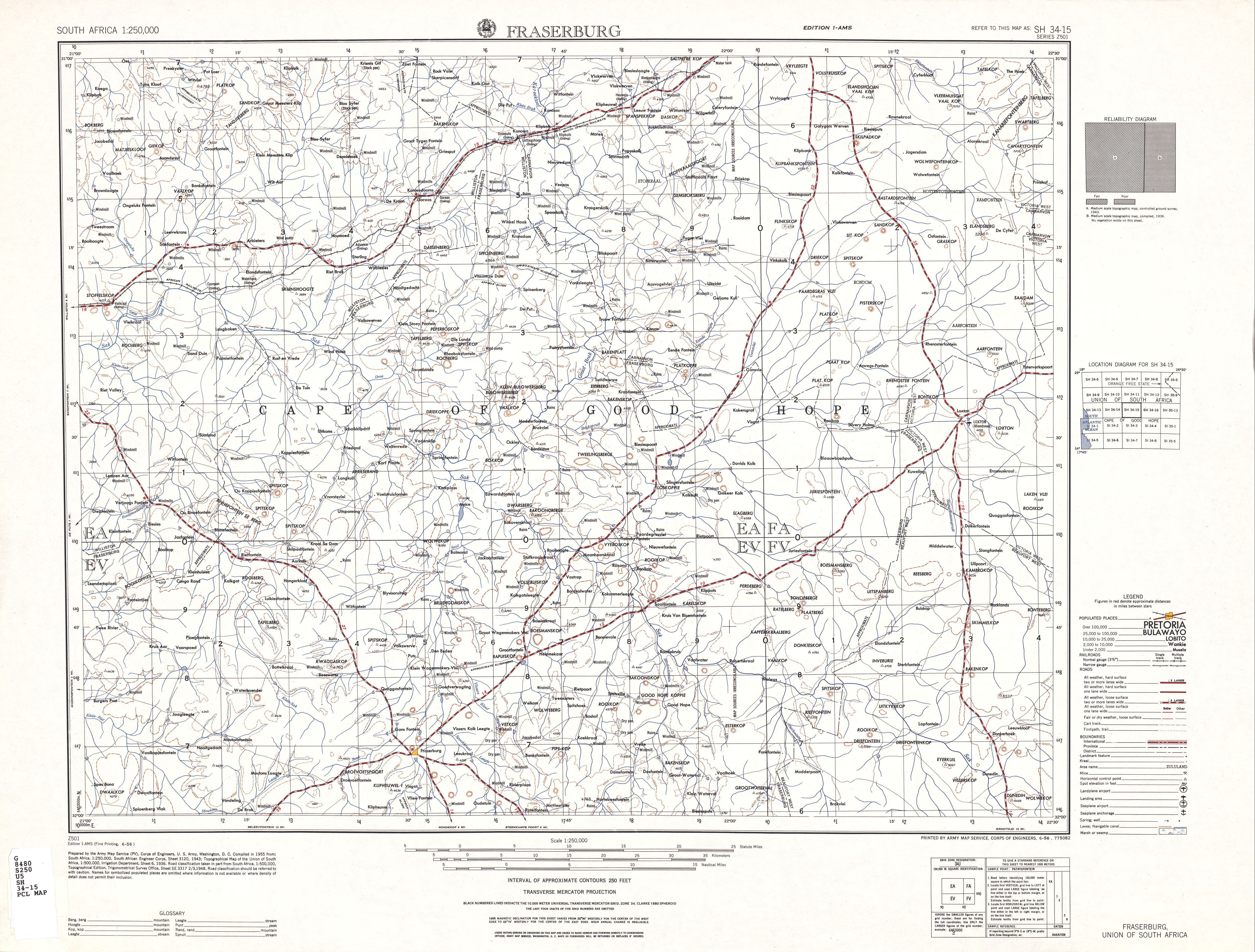 Fraserburg Topographic Map Sheet, Southern Africa 1954