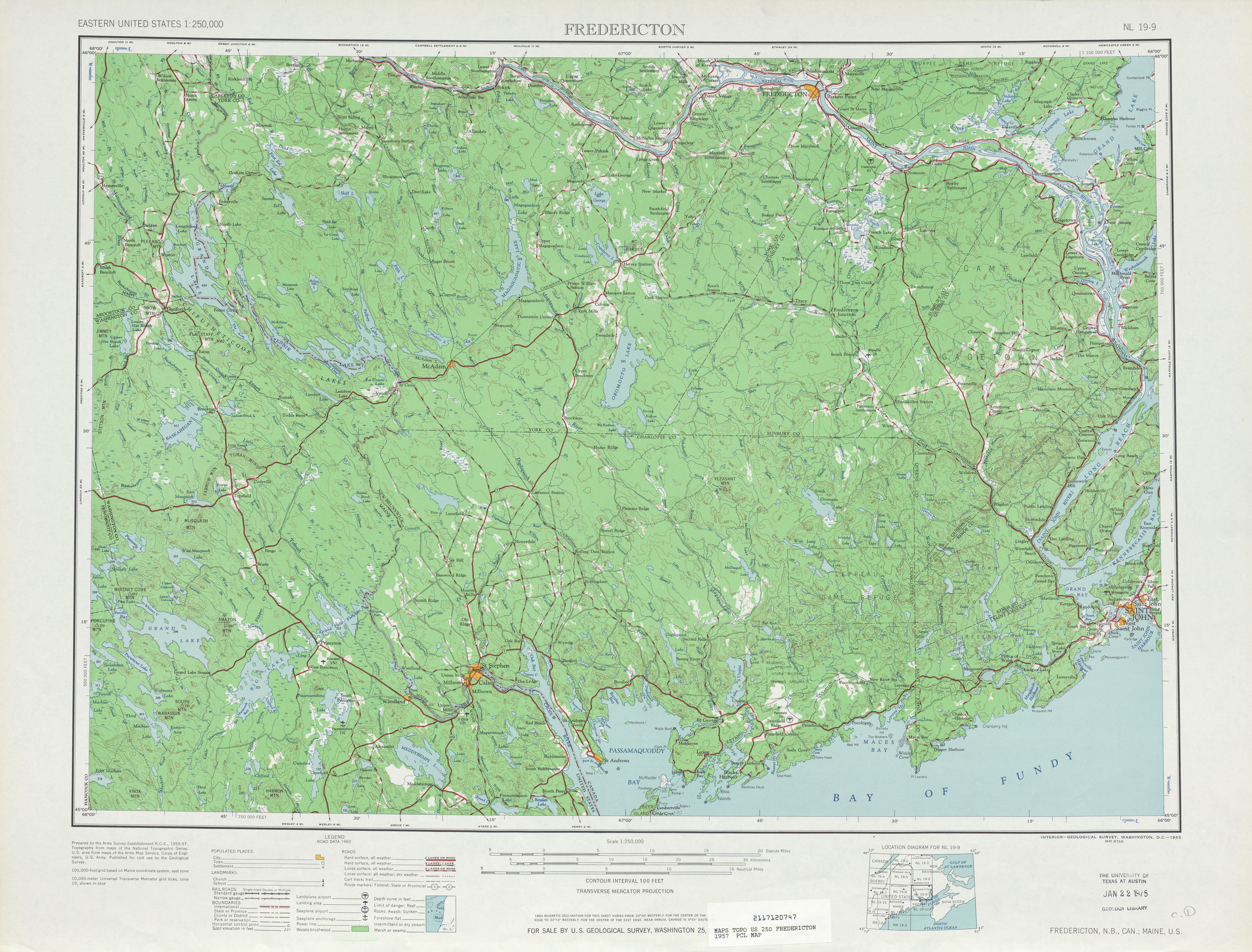 Fredericton Topographic Map Sheet, United States 1957