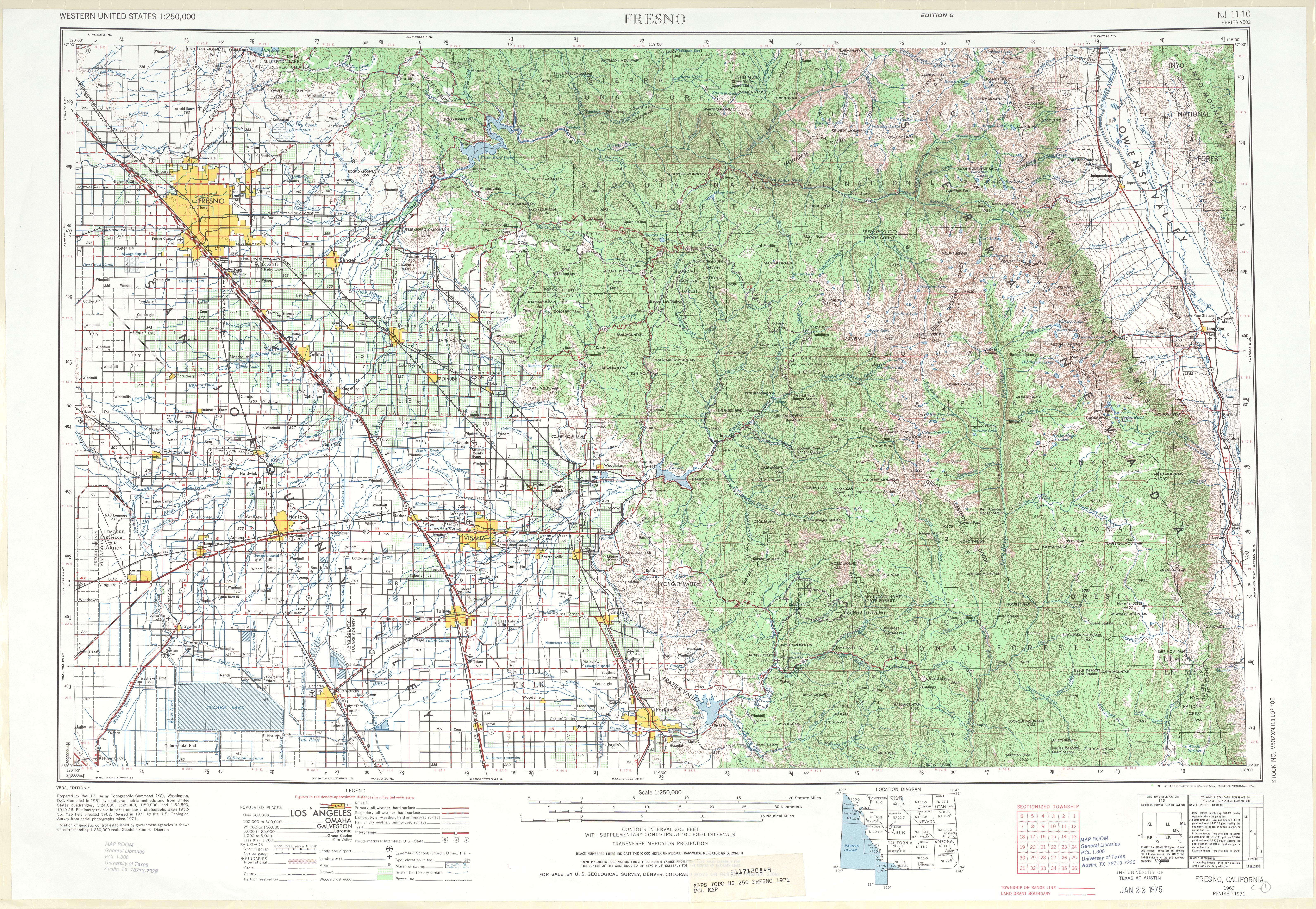 Hoja Fresno del Mapa Topográfico de los Estados Unidos 1971