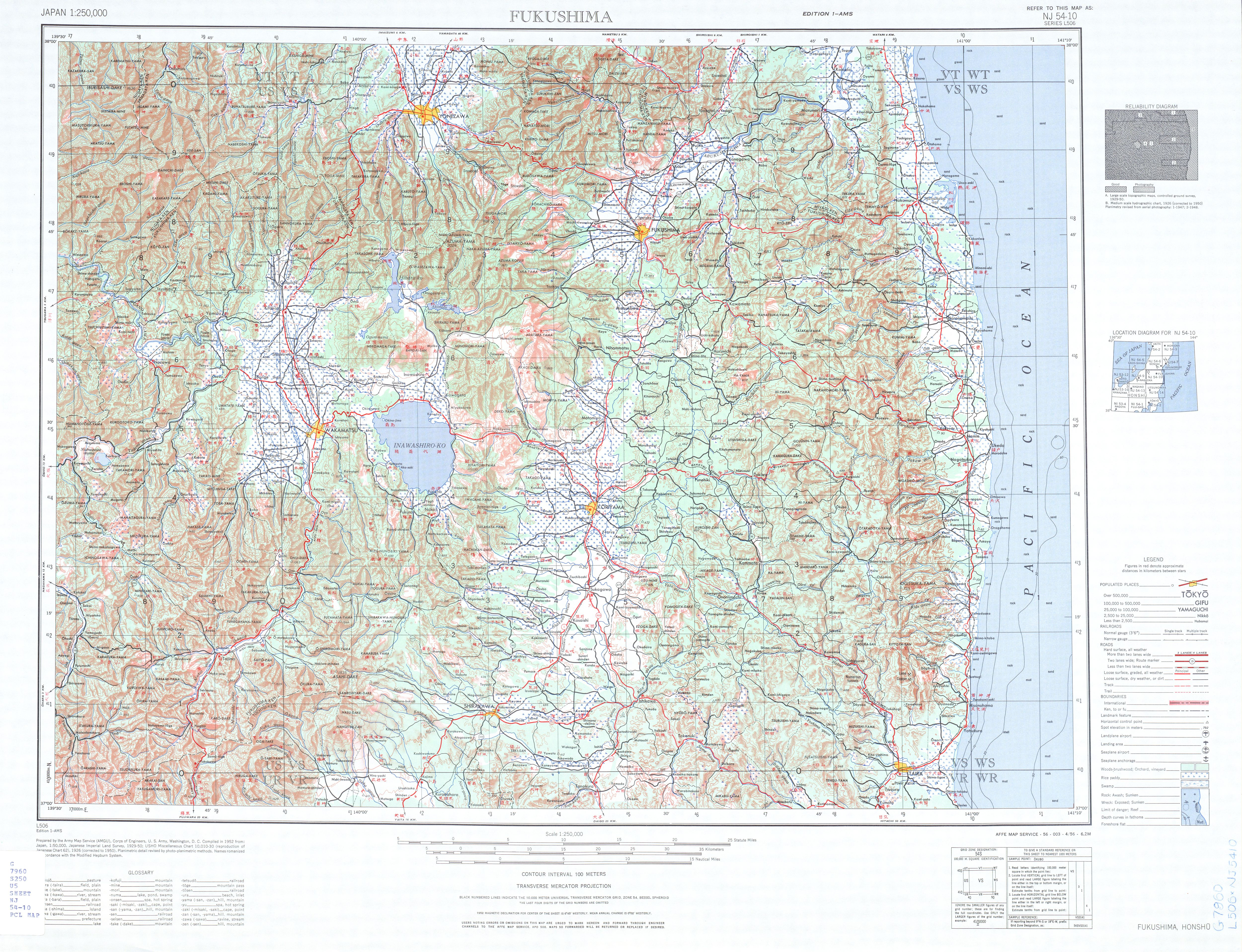 Hoja Fukushima del Mapa Topográfico de Japón 1954
