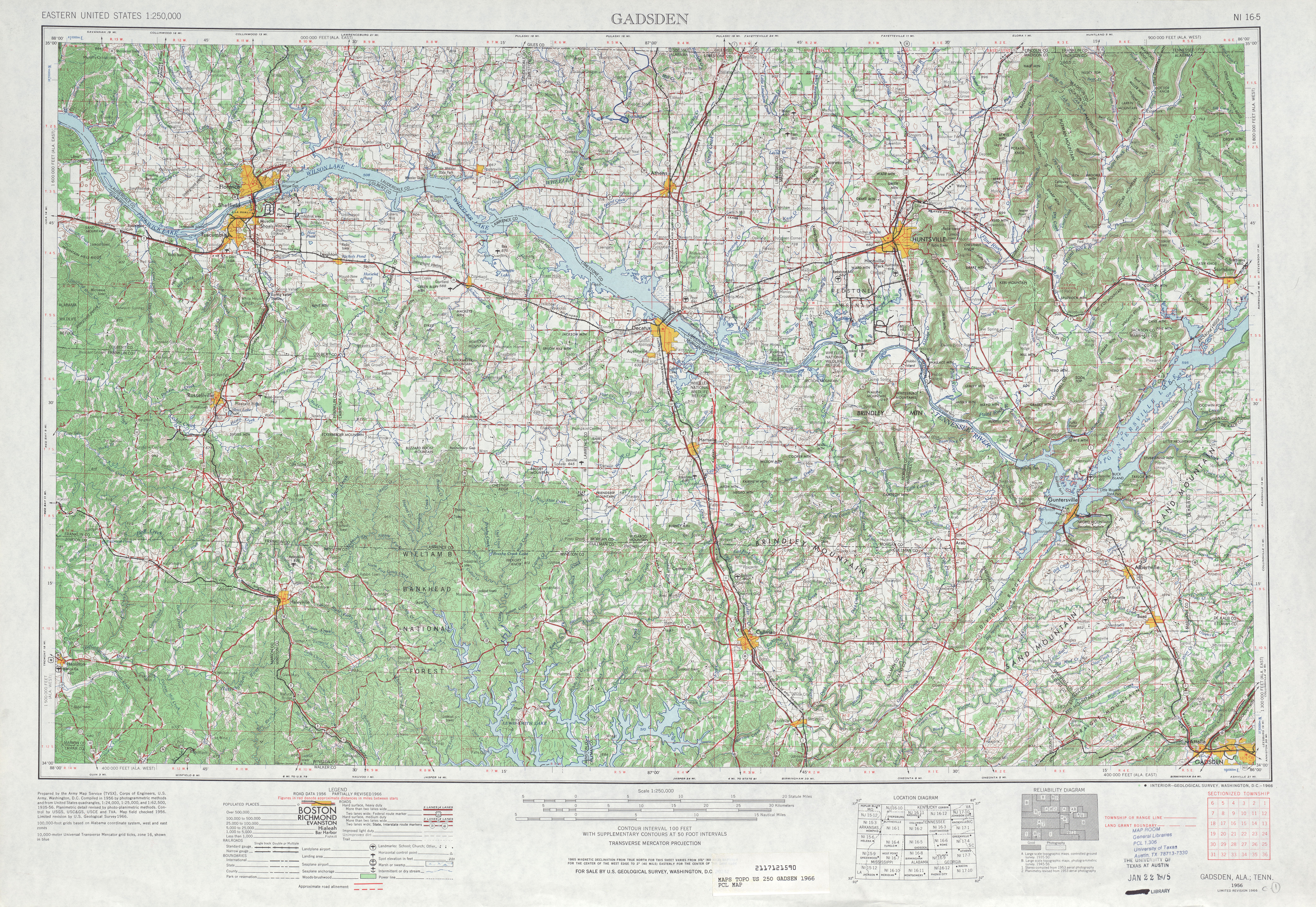 Gadsen Topographic Map Sheet, United States 1966