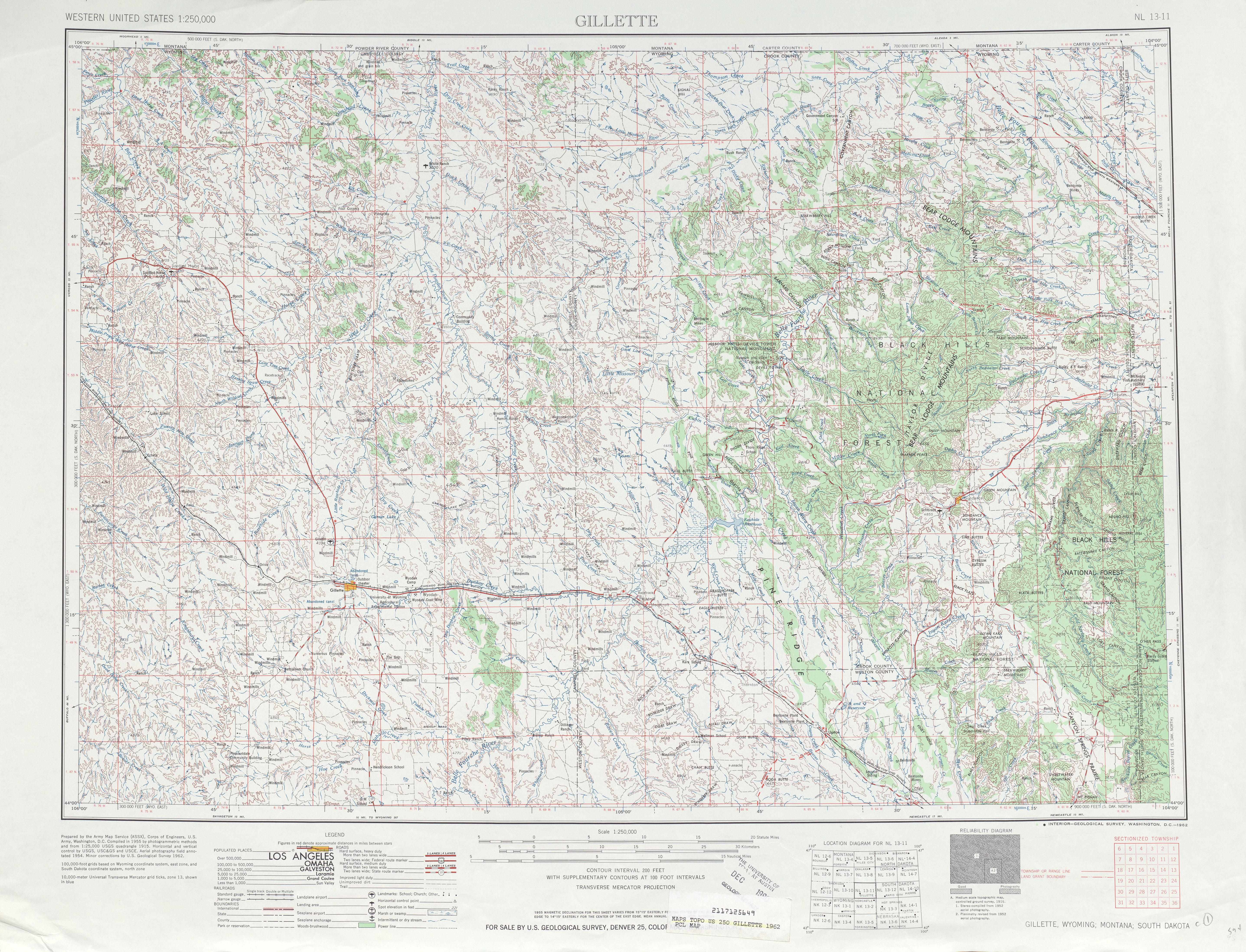 Hoja Gillette del Mapa Topográfico de los Estados Unidos 1962