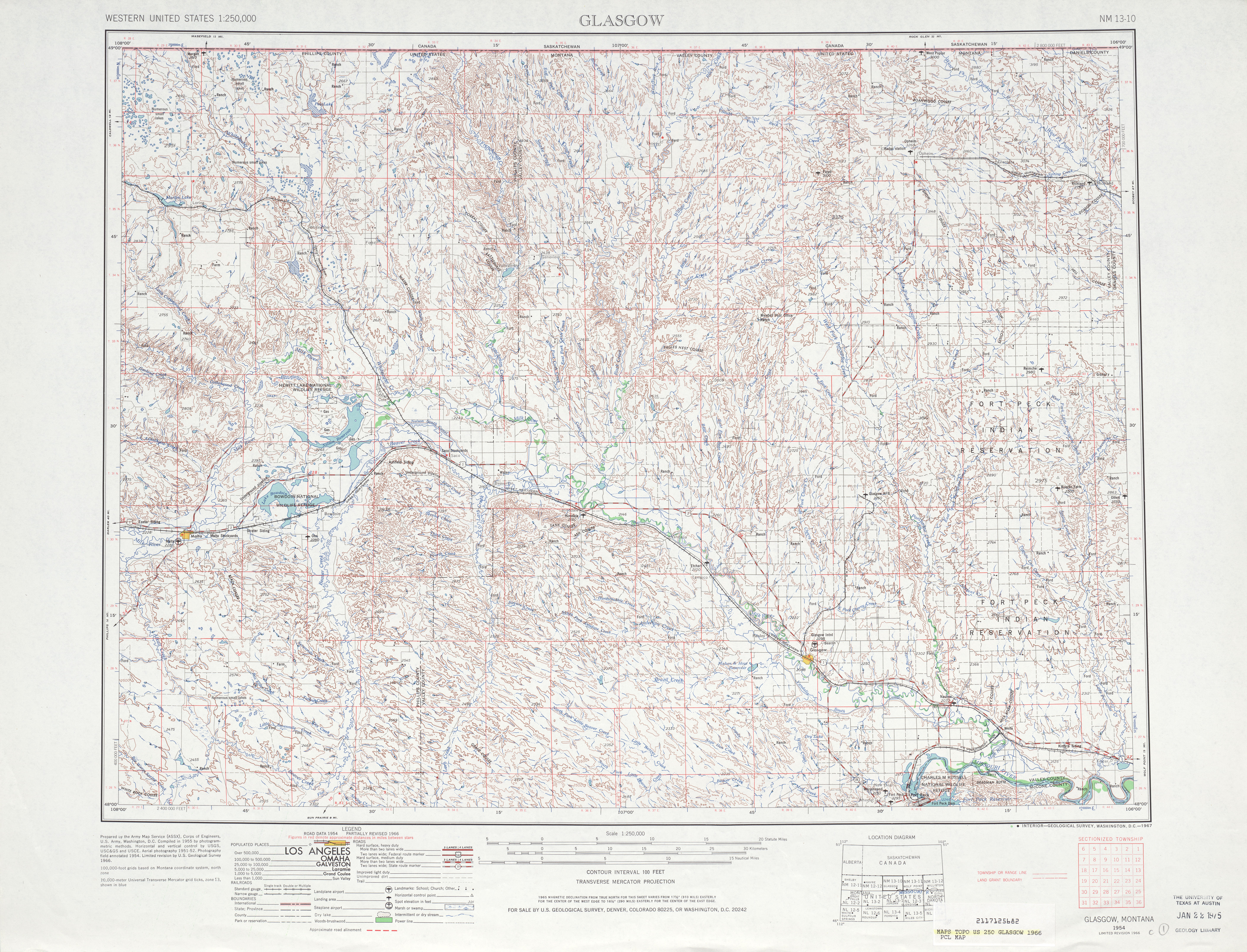 Glasgow Topographic Map Sheet, United States 1966