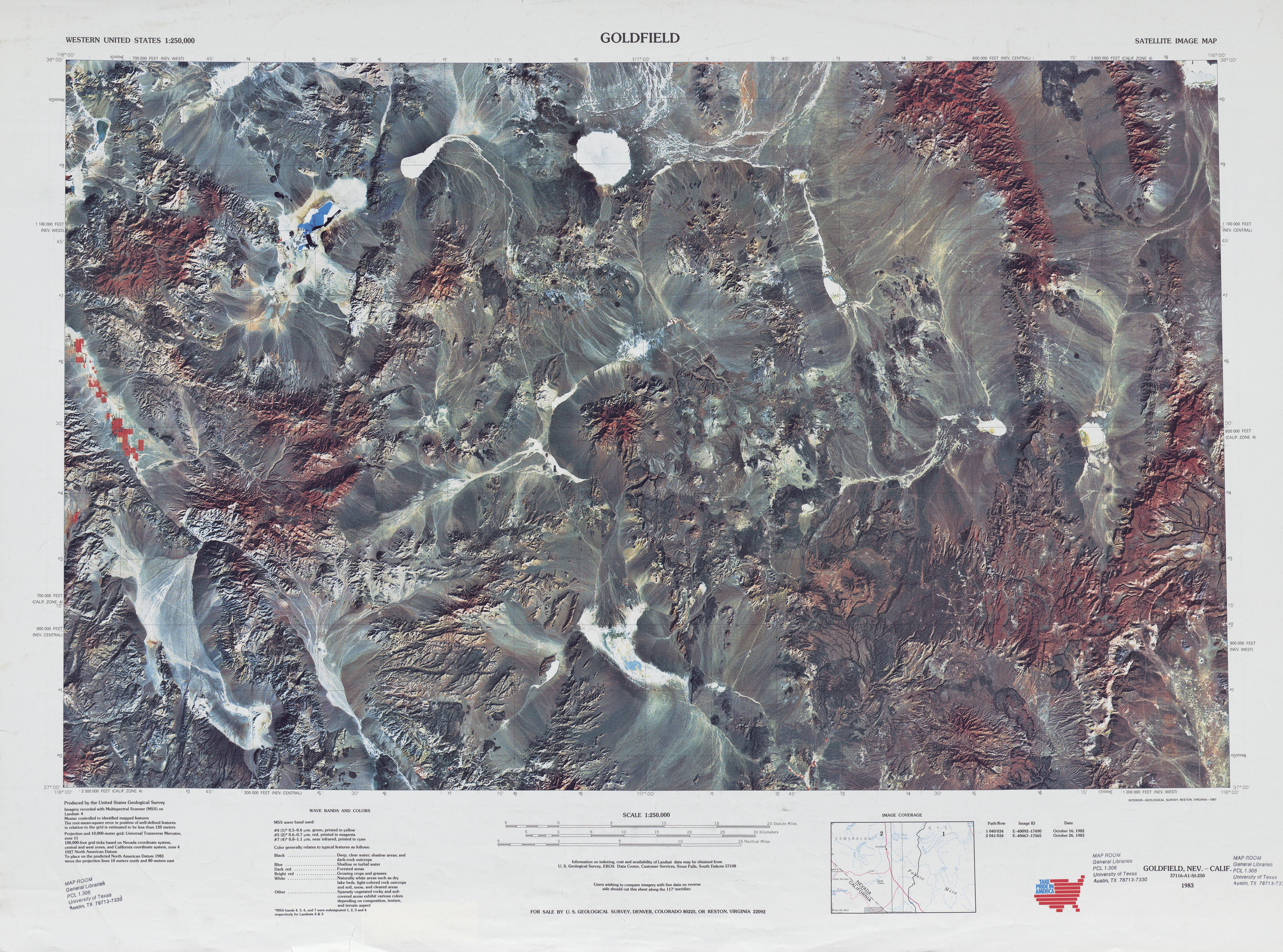 Hoja Goldfield de la Imagen Satelital de los Estados Unidos 1983