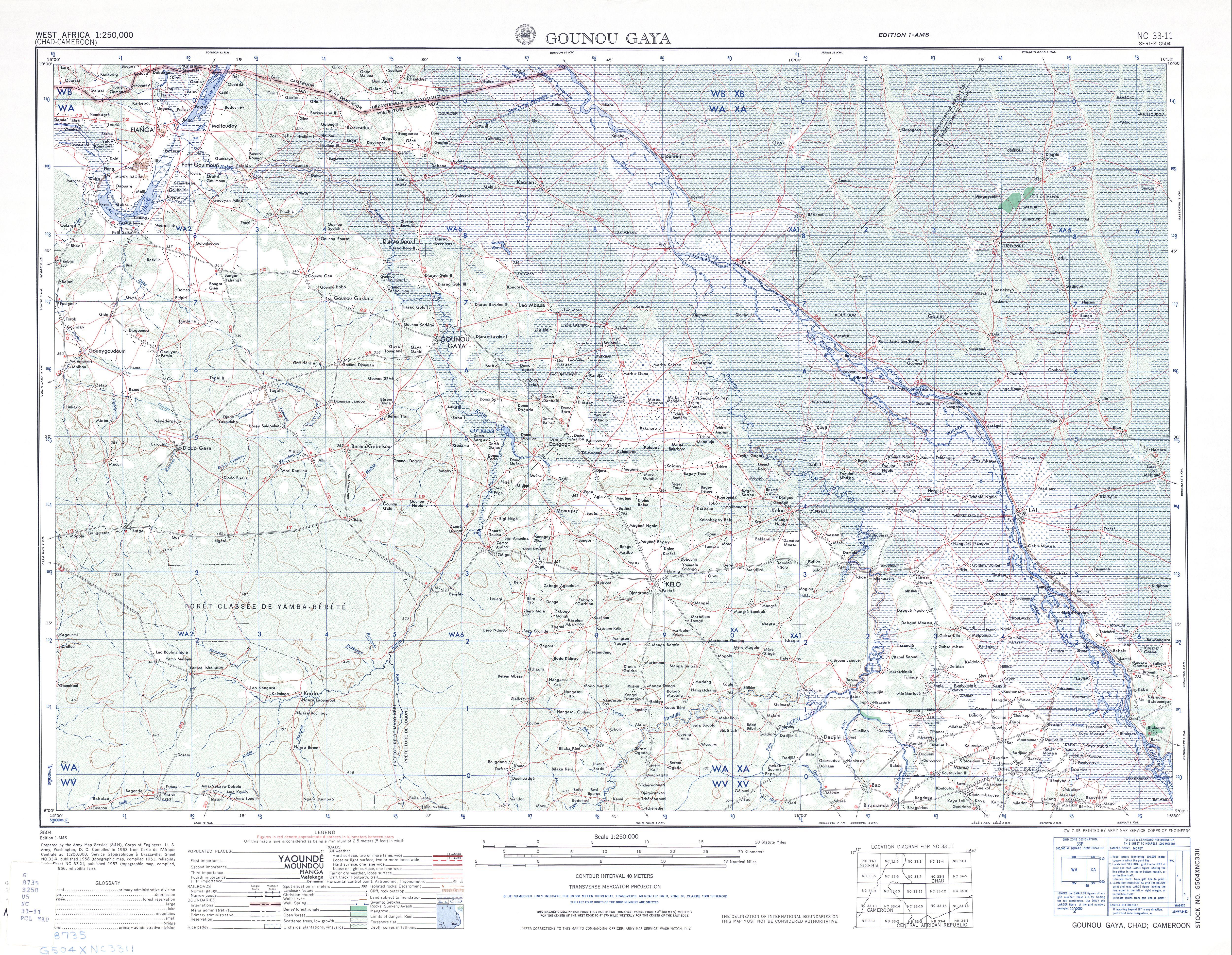 Hoja Gounou Gaya del Mapa Topográfico de África Occidental 1955
