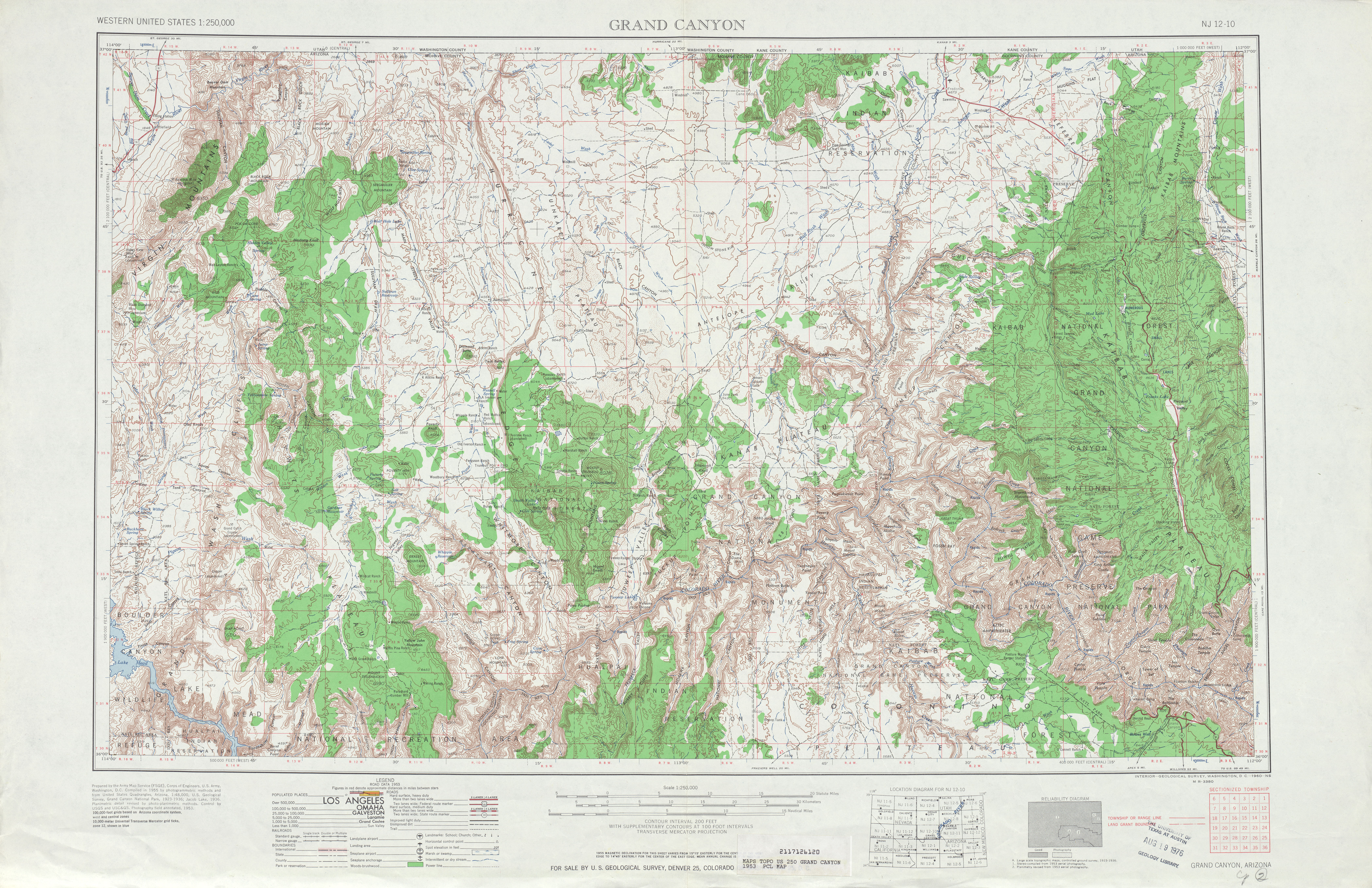 Grand Canyon Topographic Map Sheet, United States 1953