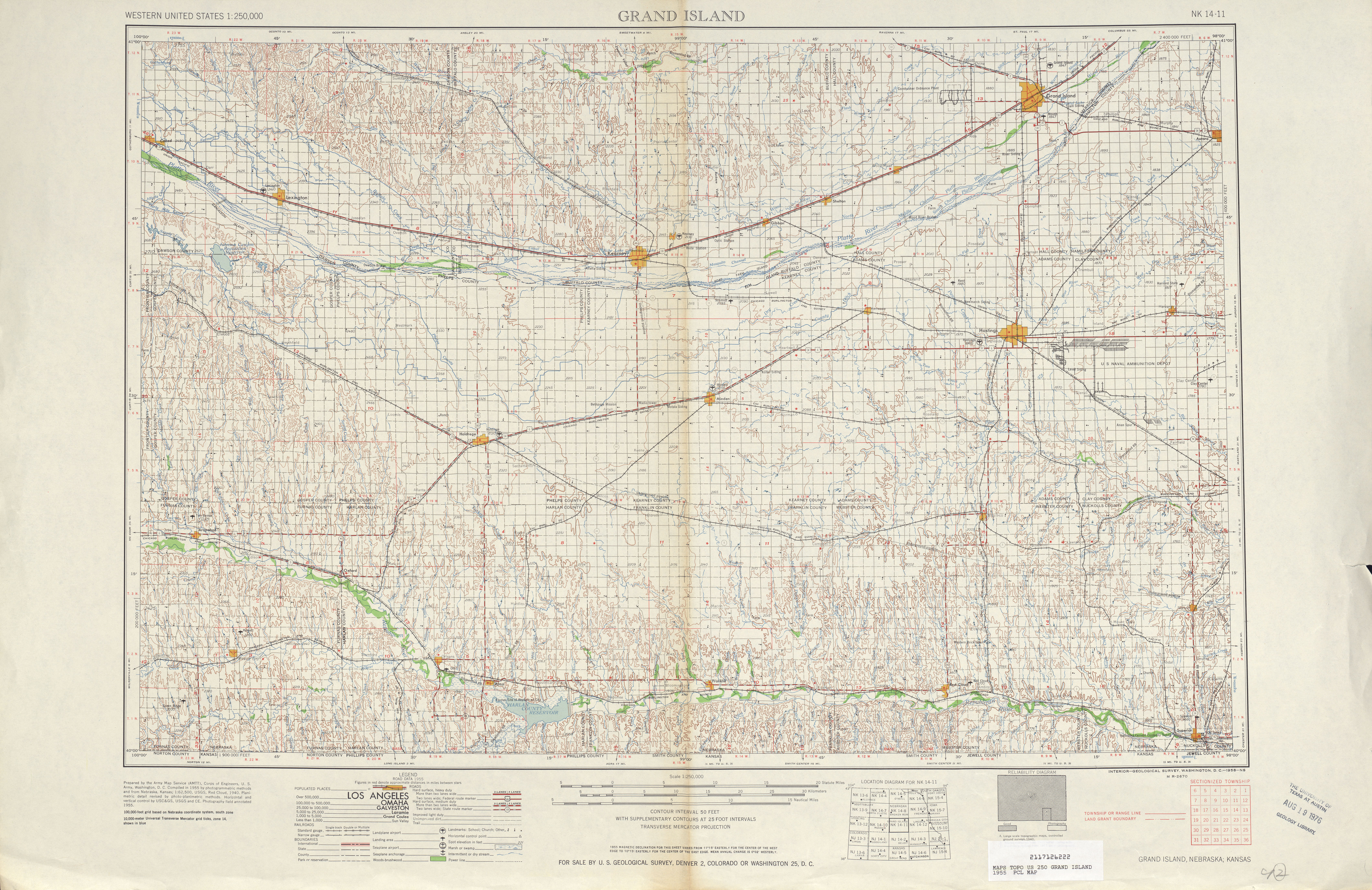 Grand Island Topographic Map Sheet, United States 1955
