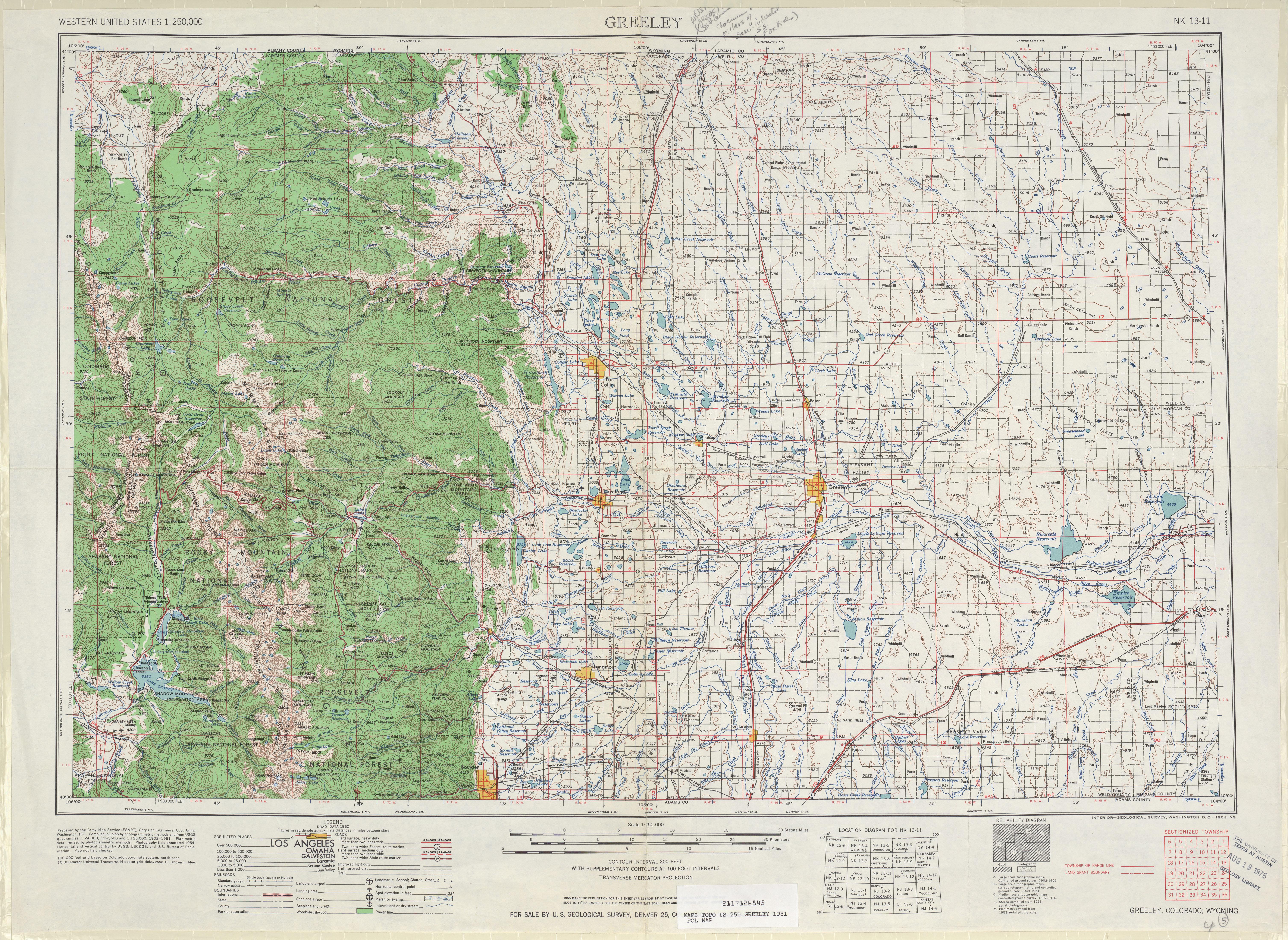 Hoja Greeley del Mapa Topográfico de los Estados Unidos 1954