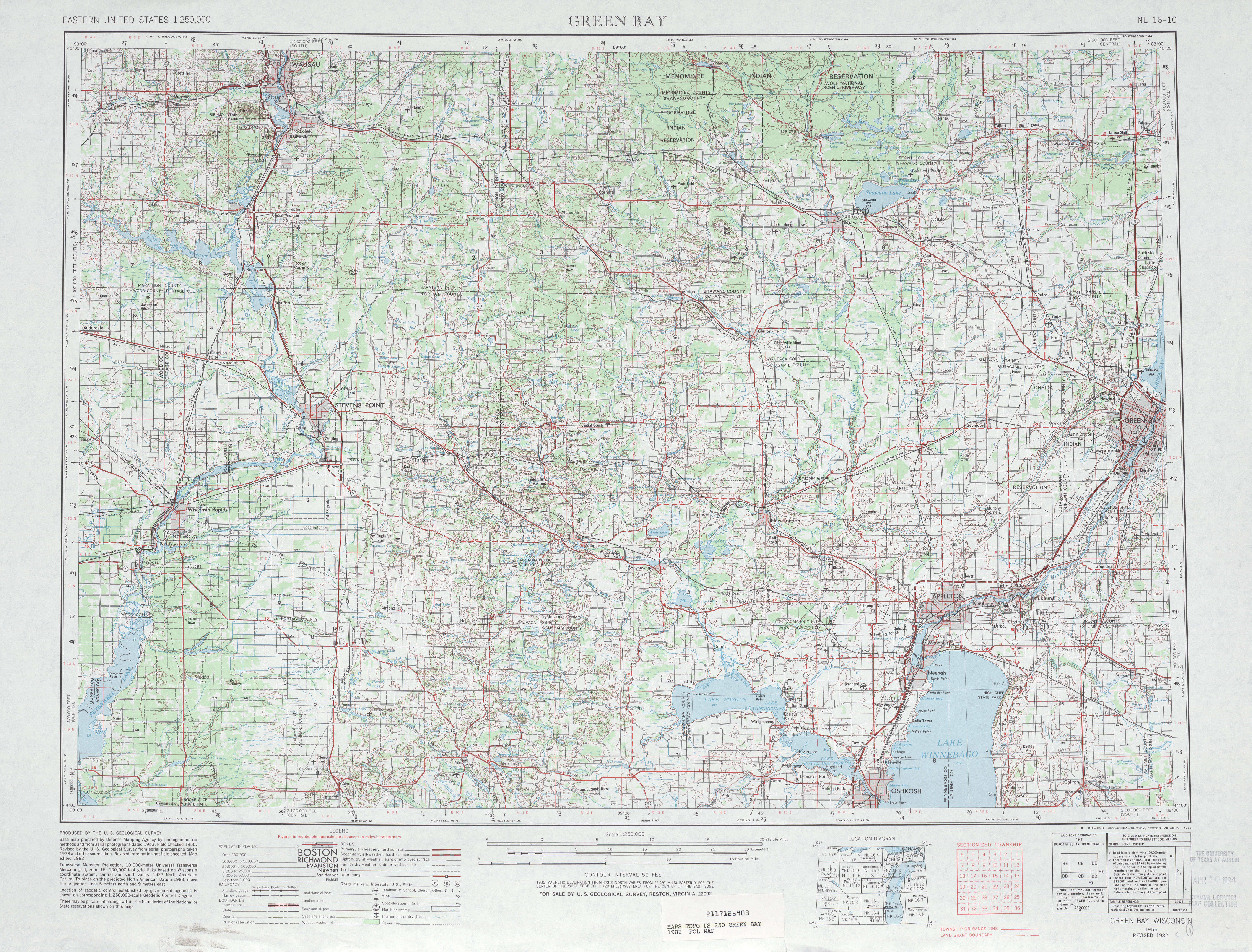 Green Bay Topographic Map Sheet, United States 1982