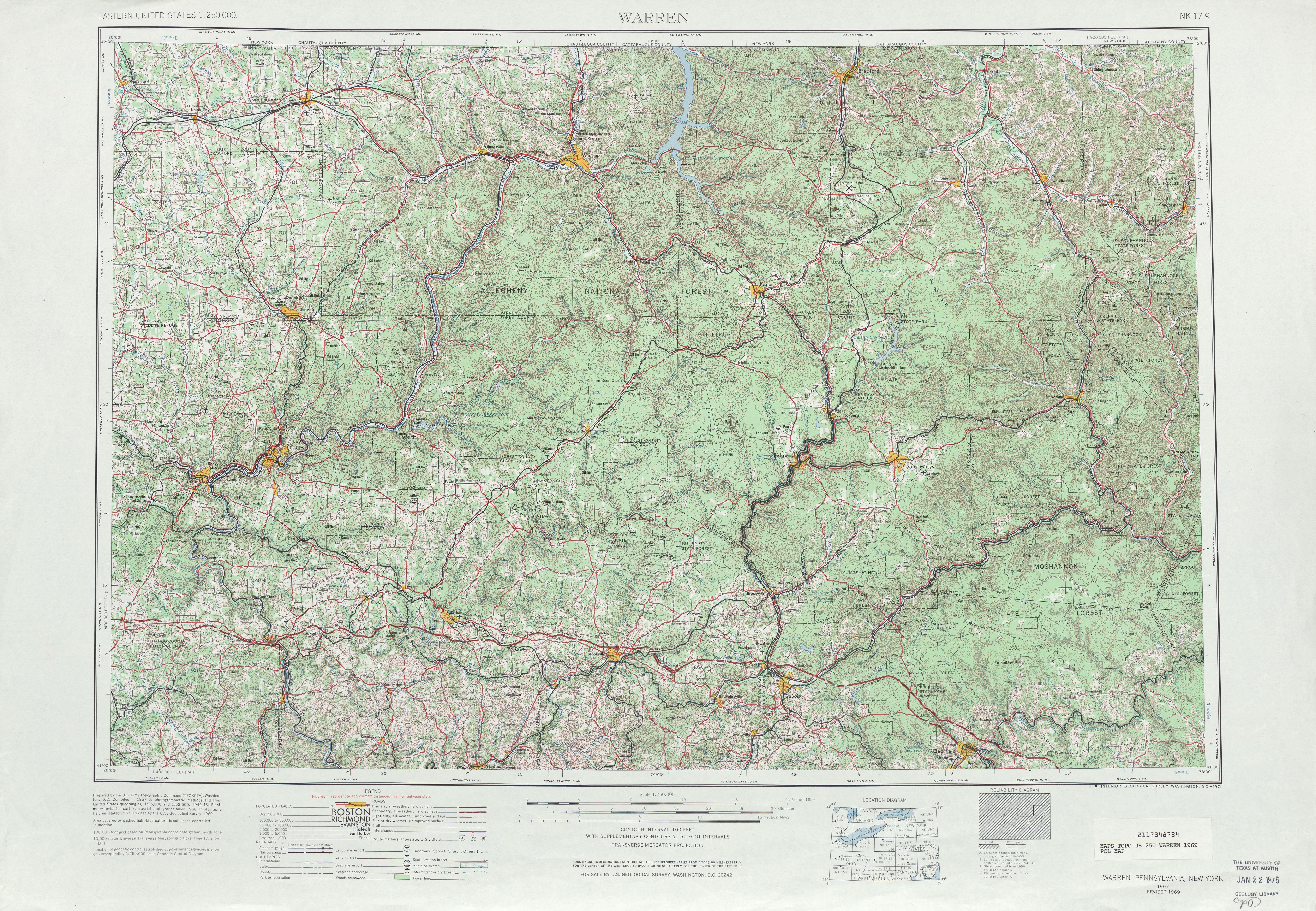 Hoja Guerraren del Mapa Topográfico de los Estados Unidos 1969