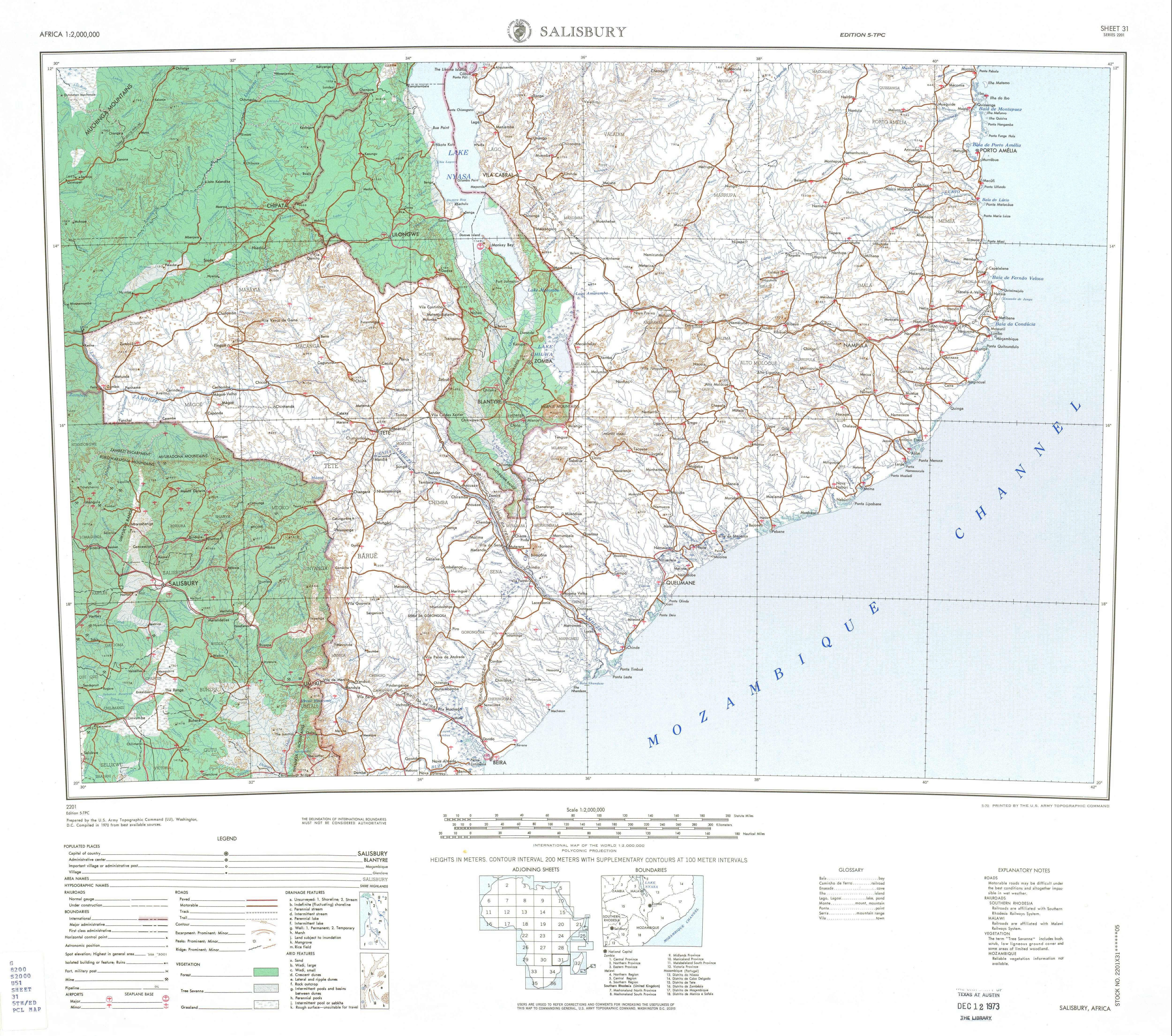 Hoja Harare (Salisbury) del Mapa Topográfico de África 1970