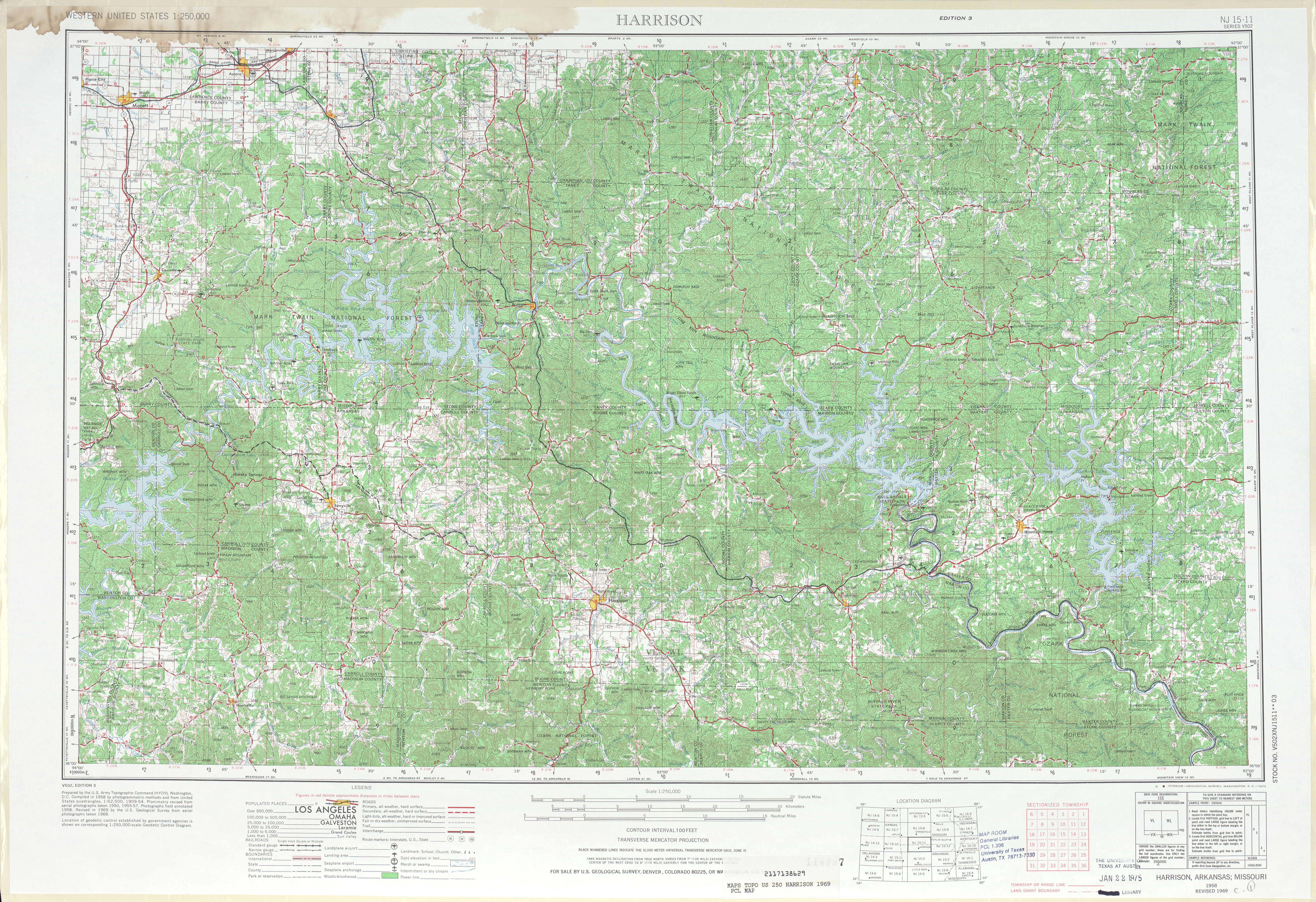 Harrison Topographic Map Sheet, United States 1969