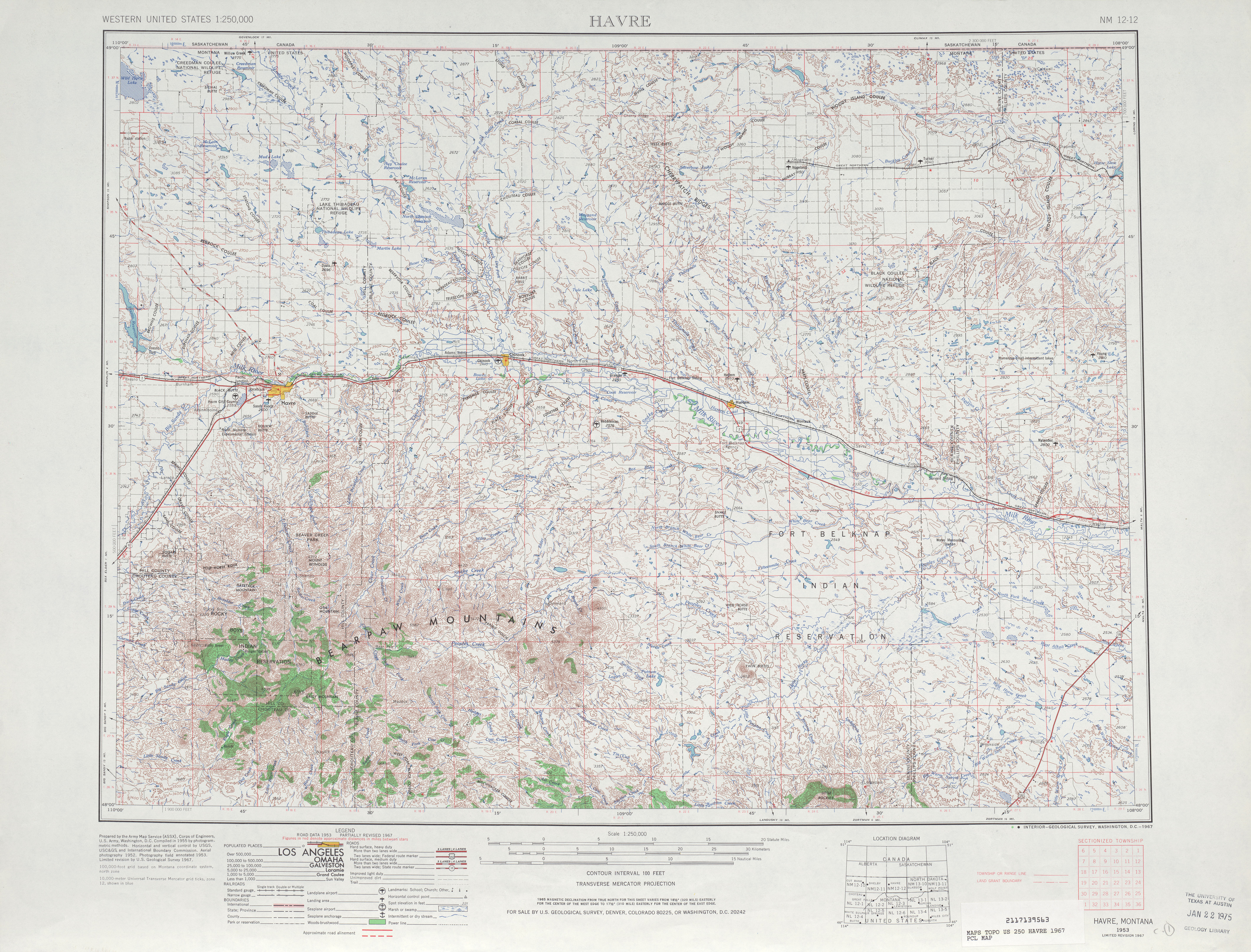 Hoja Havre del Mapa Topográfico de los Estados Unidos 1967