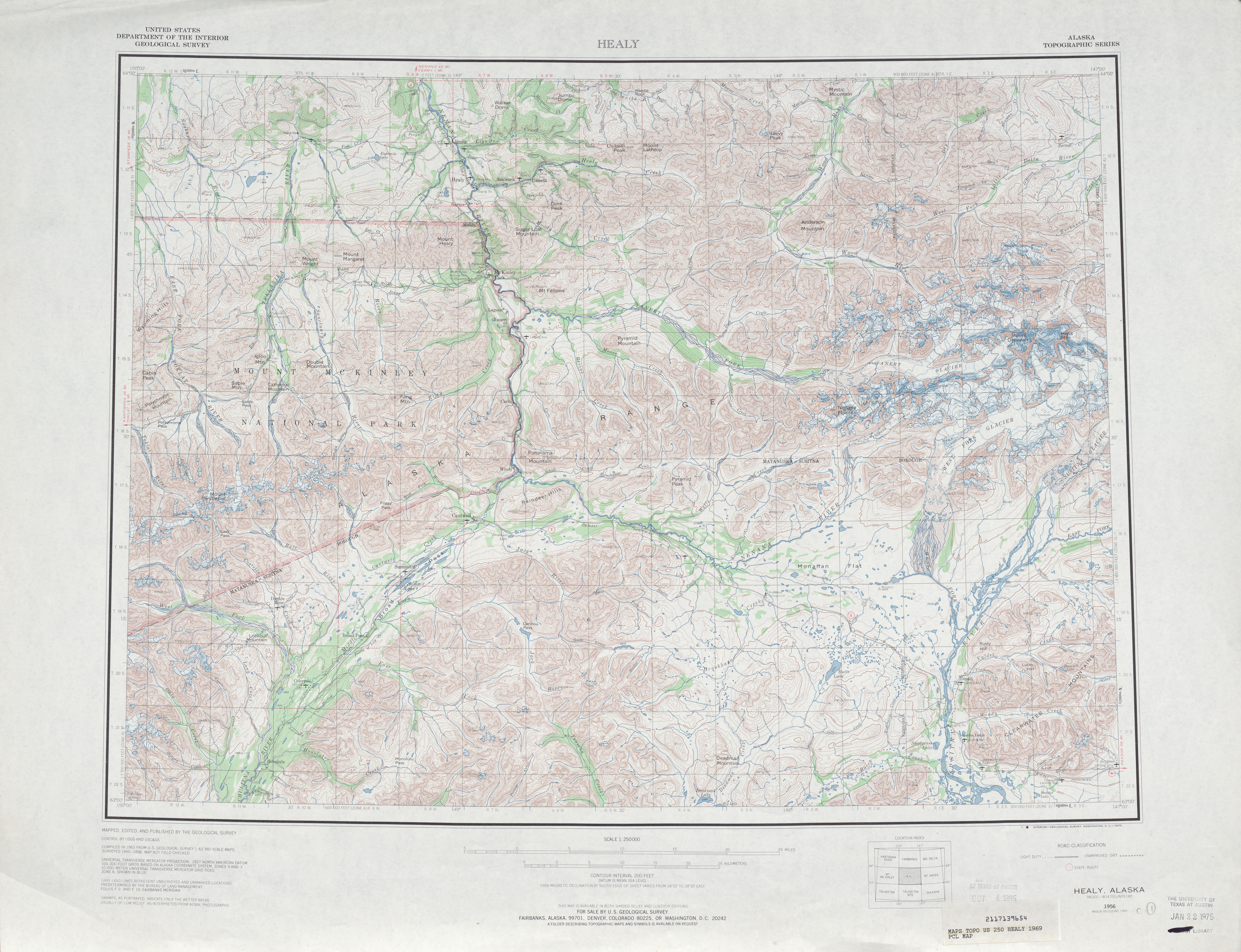 Healy Topographic Map Sheet, United States 1969