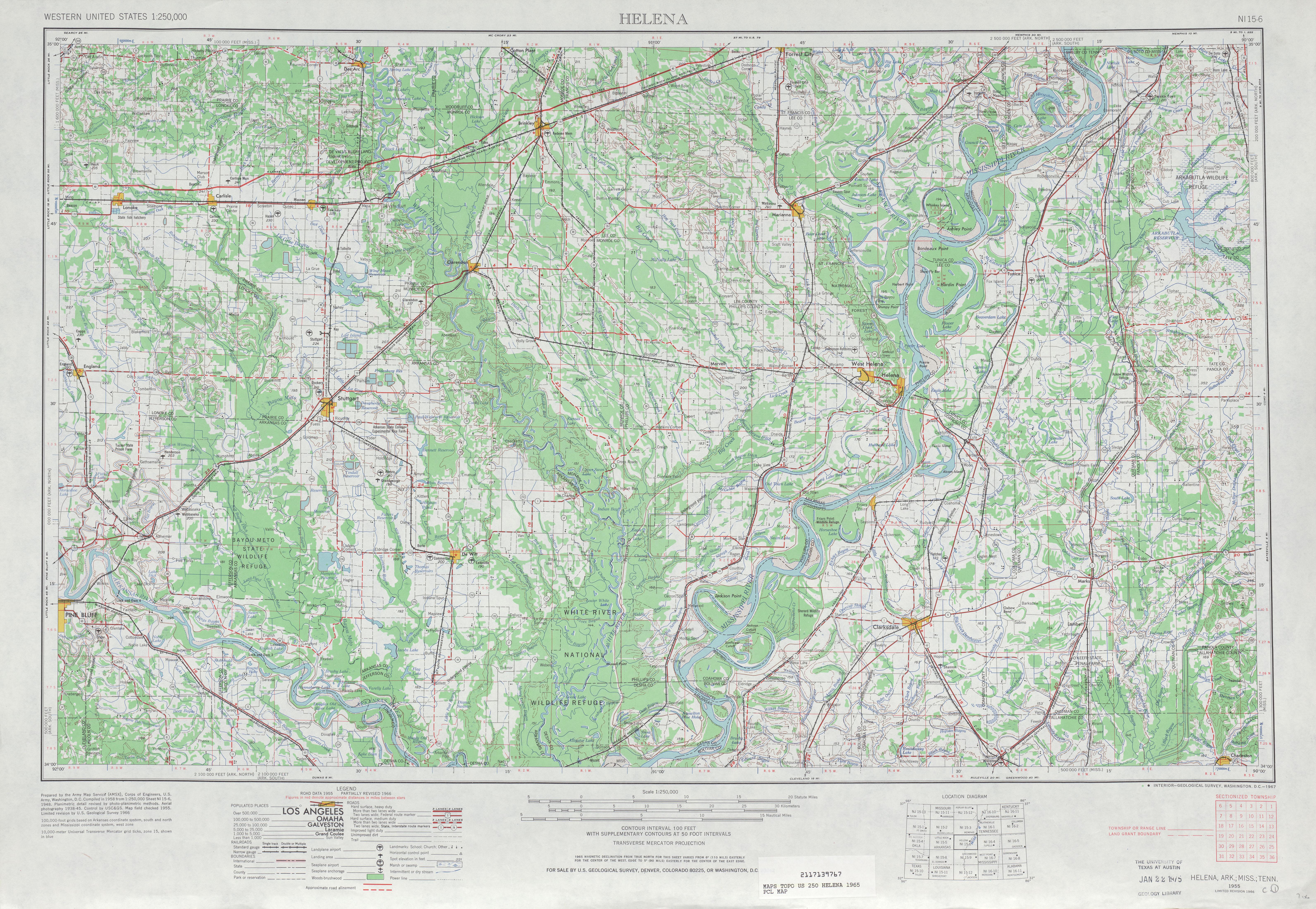 Hoja Helena del Mapa Topográfico de los Estados Unidos 1965