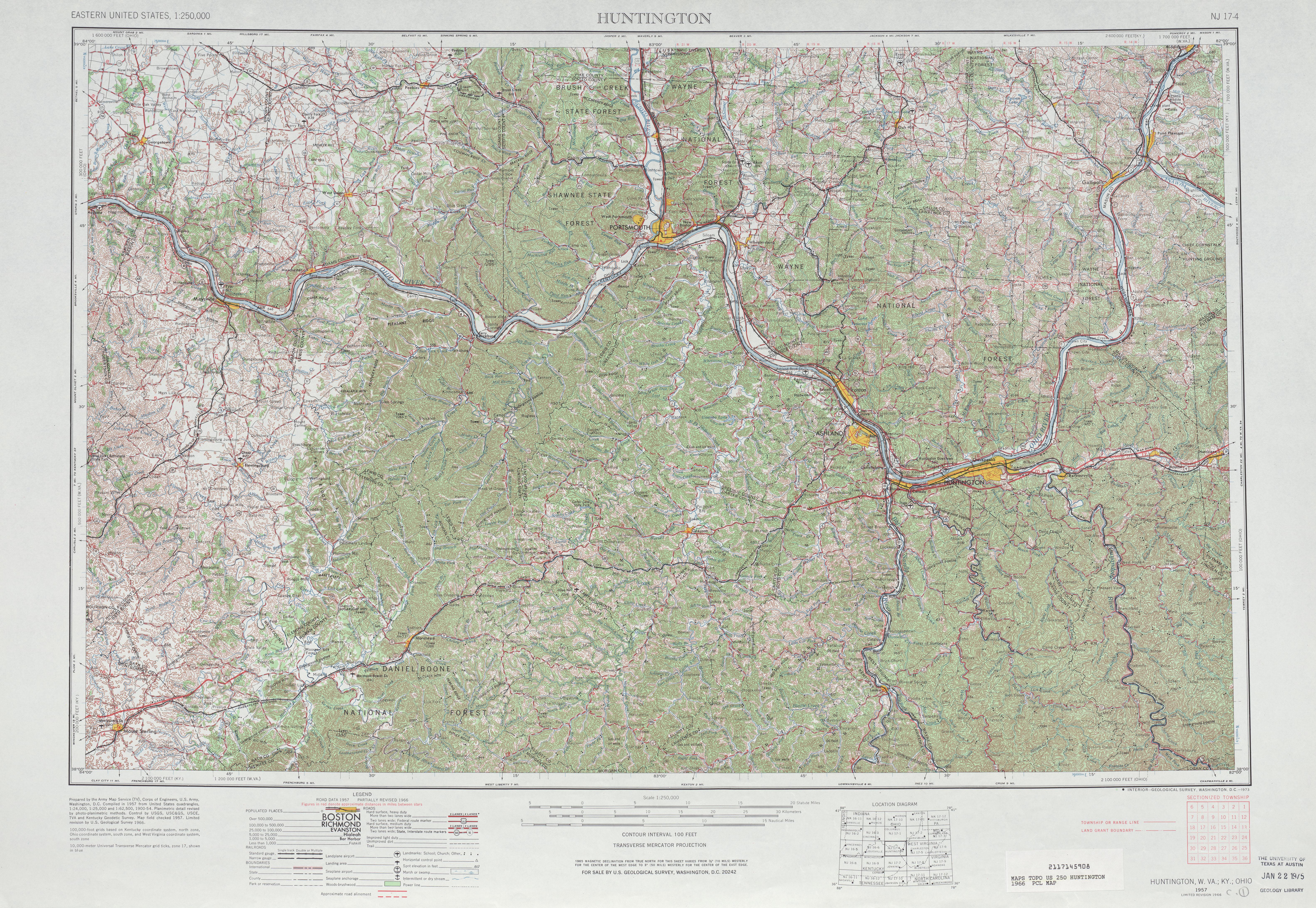 Hoja Huntington del Mapa Topográfico de los Estados Unidos 1966