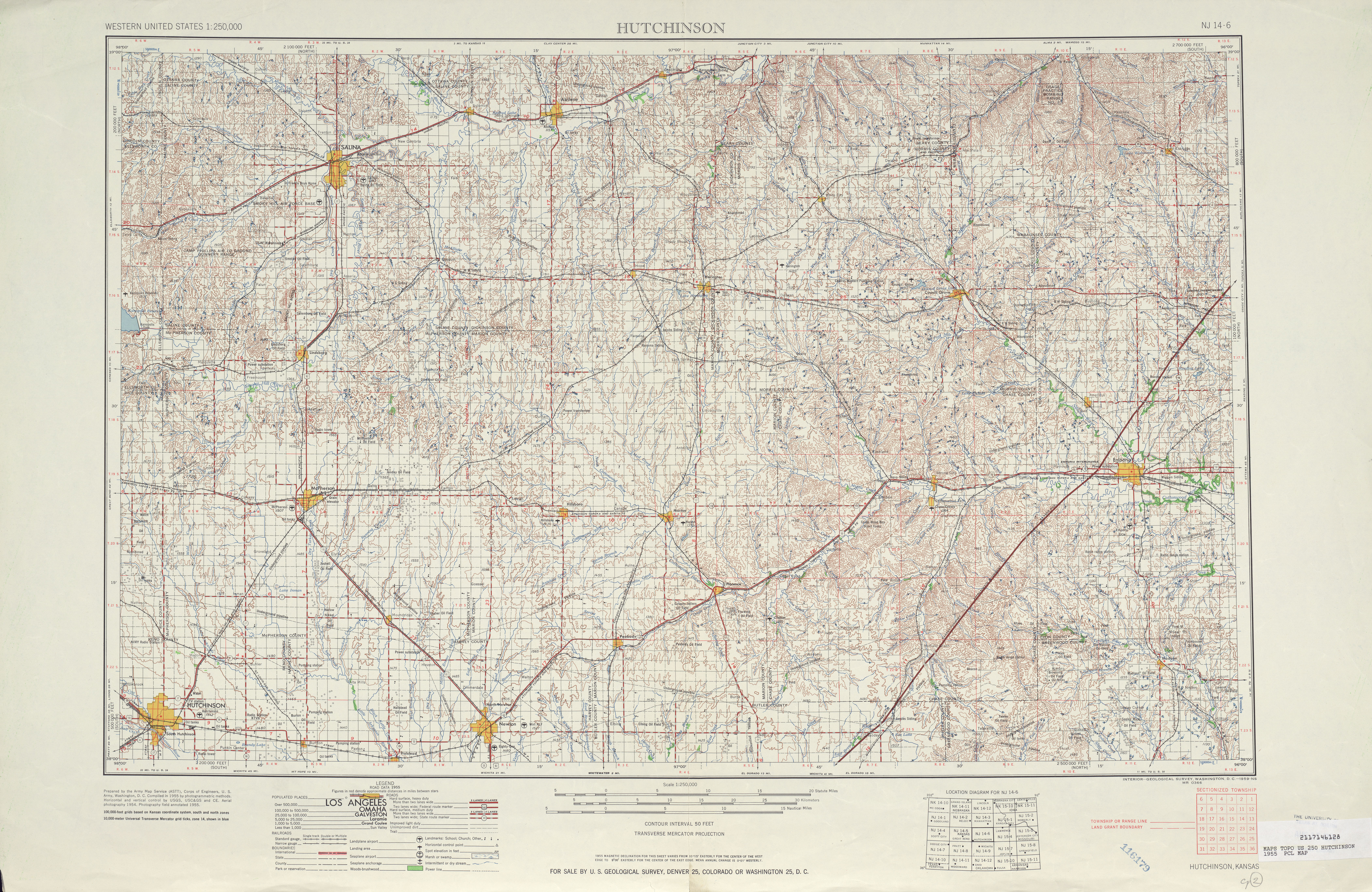 Hutchinson Topographic Map Sheet, United States 1955