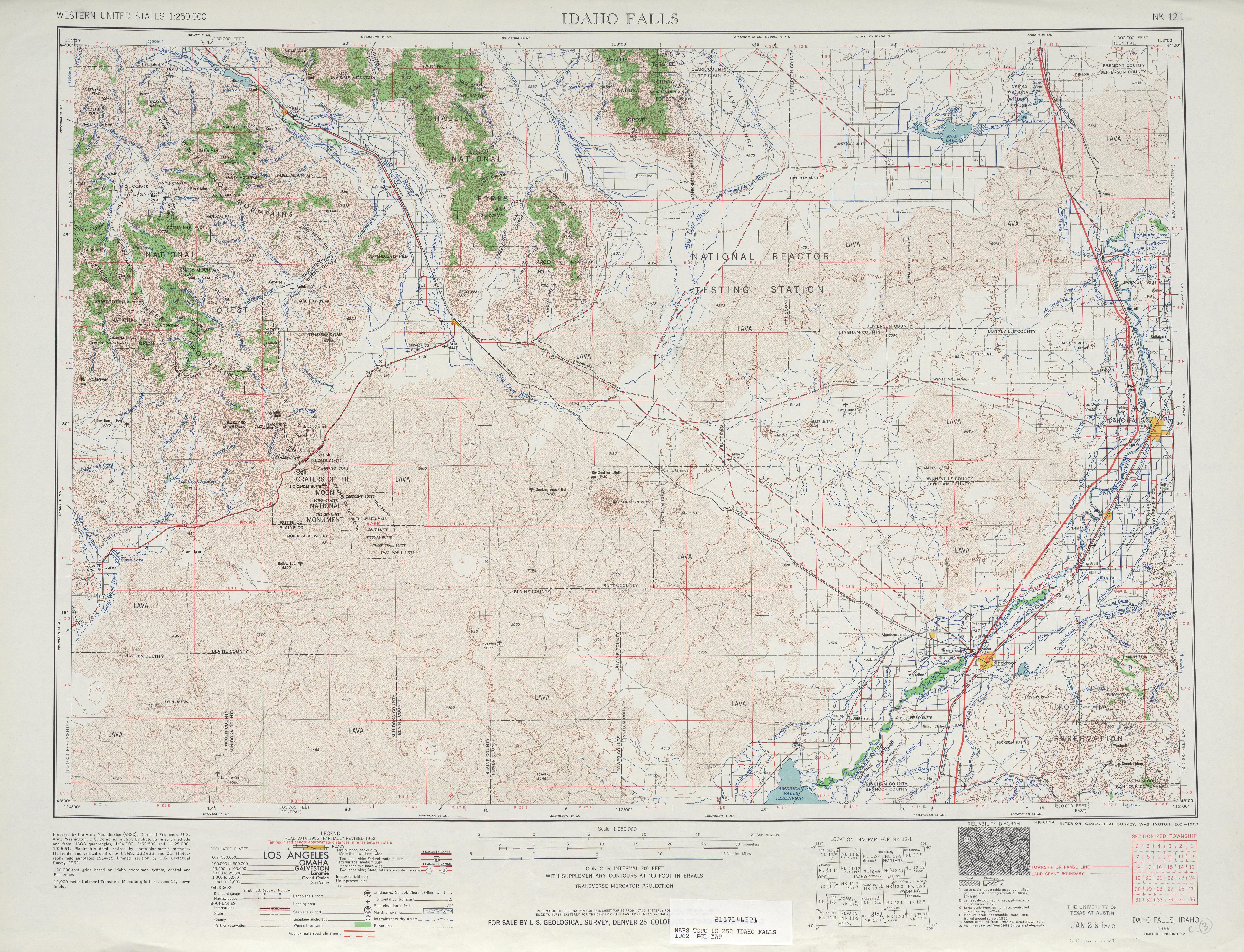 Hoja Idaho Falls del Mapa Topográfico de los Estados Unidos 1962