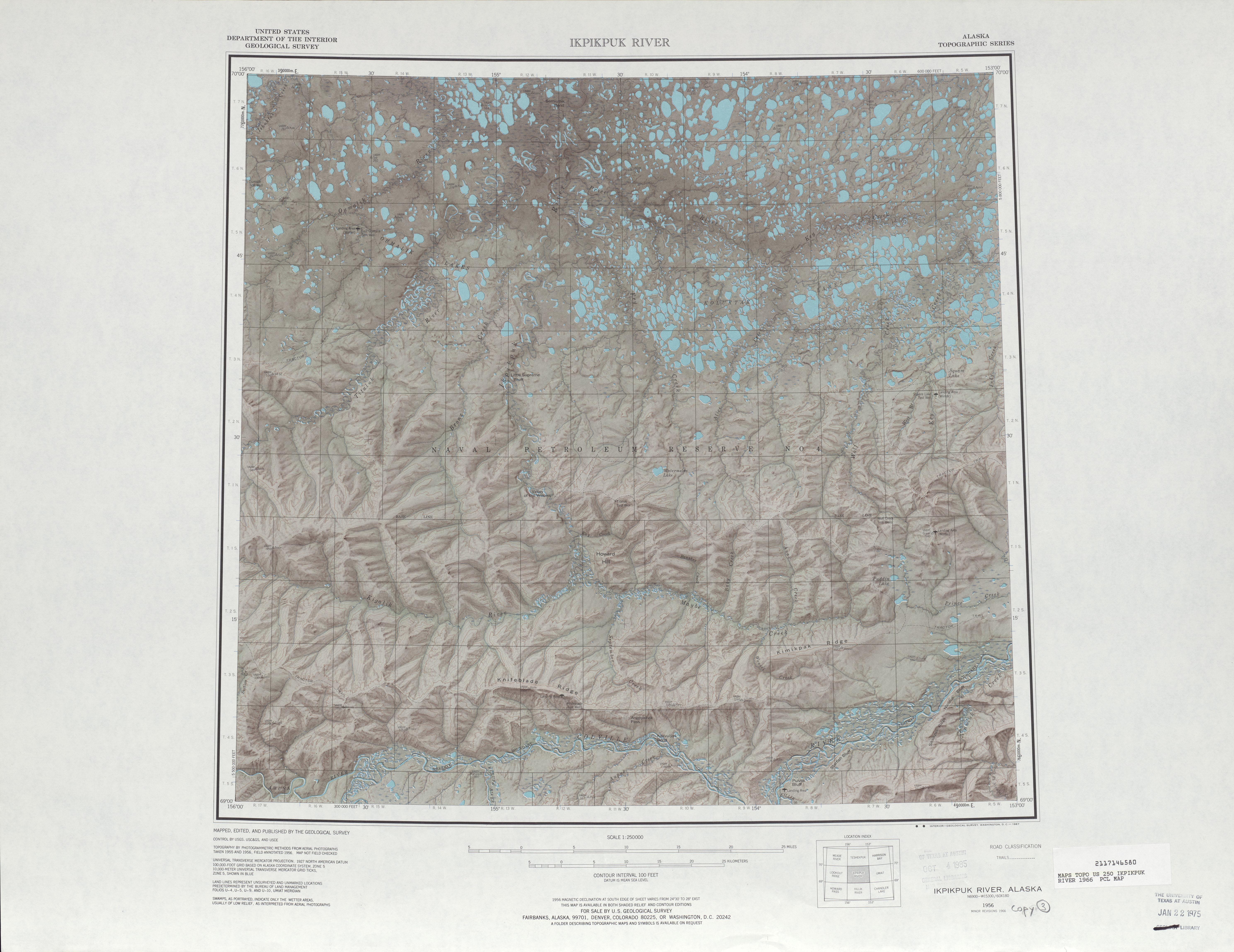 Ikpikpuk River Shaded Relief Map Sheet, United States 1966