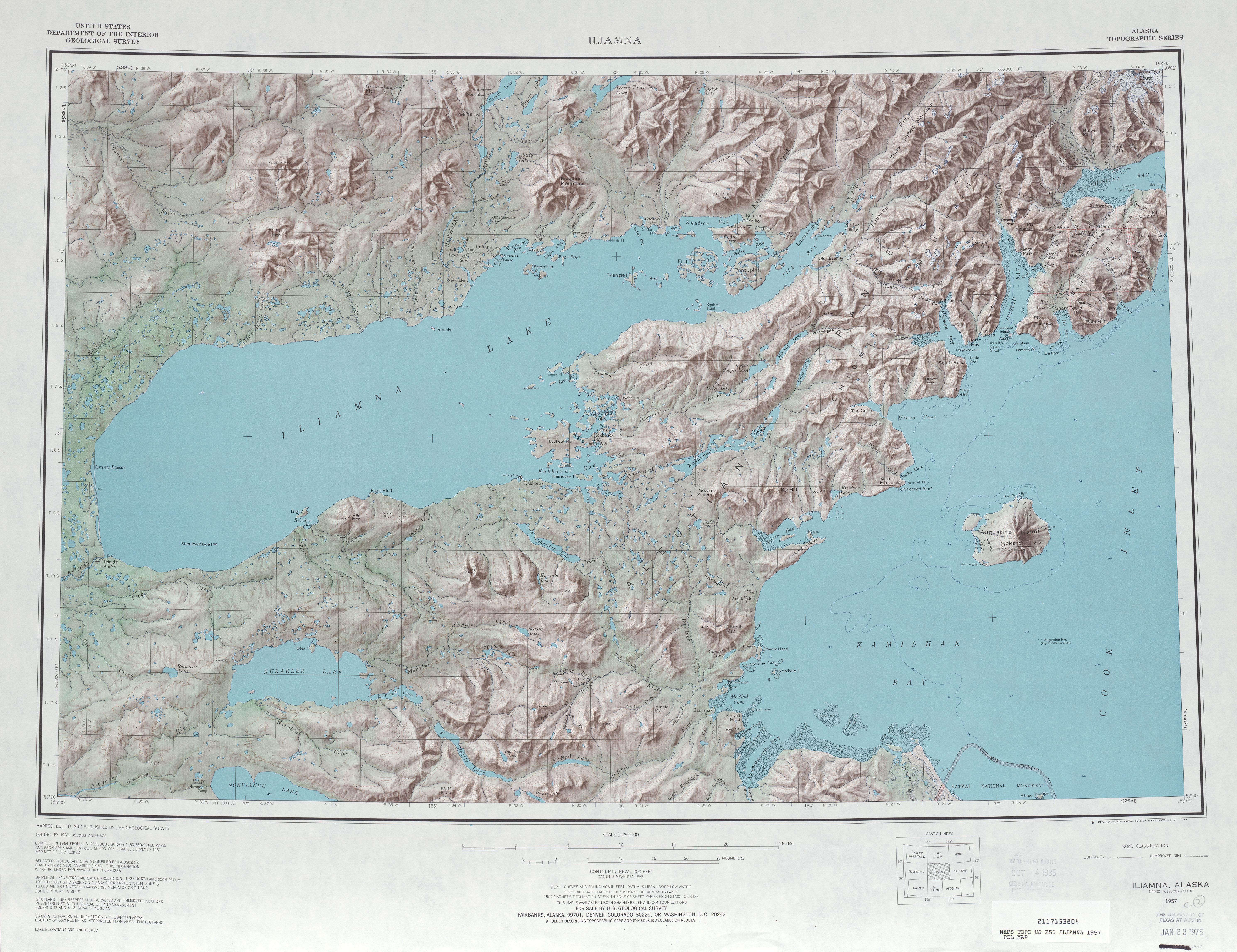 Hoja Iliamna del Mapa de Relieve Sombreado de los Estados Unidos 1957