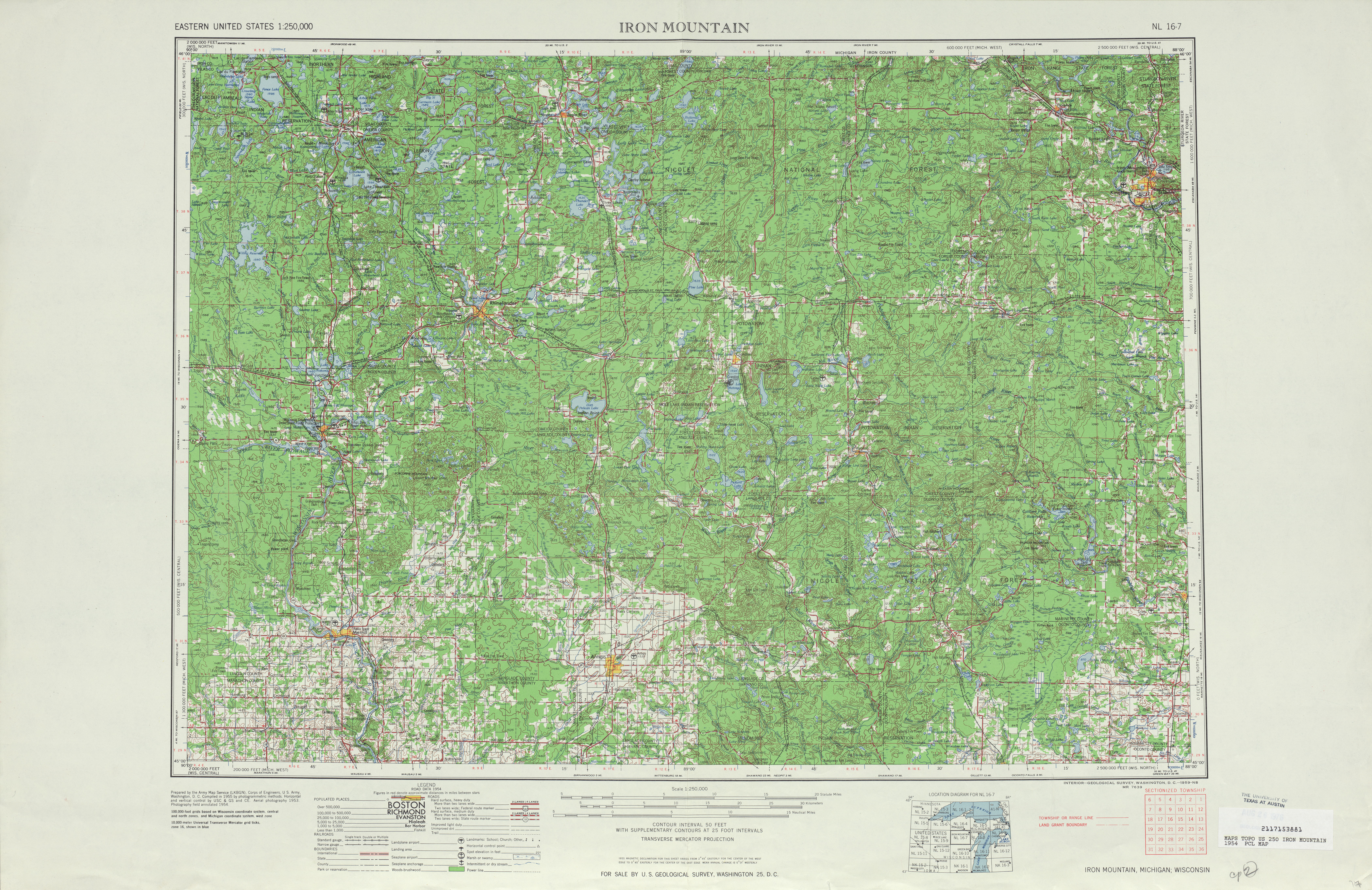 Iron Mountain Topographic Map Sheet, United States 1954