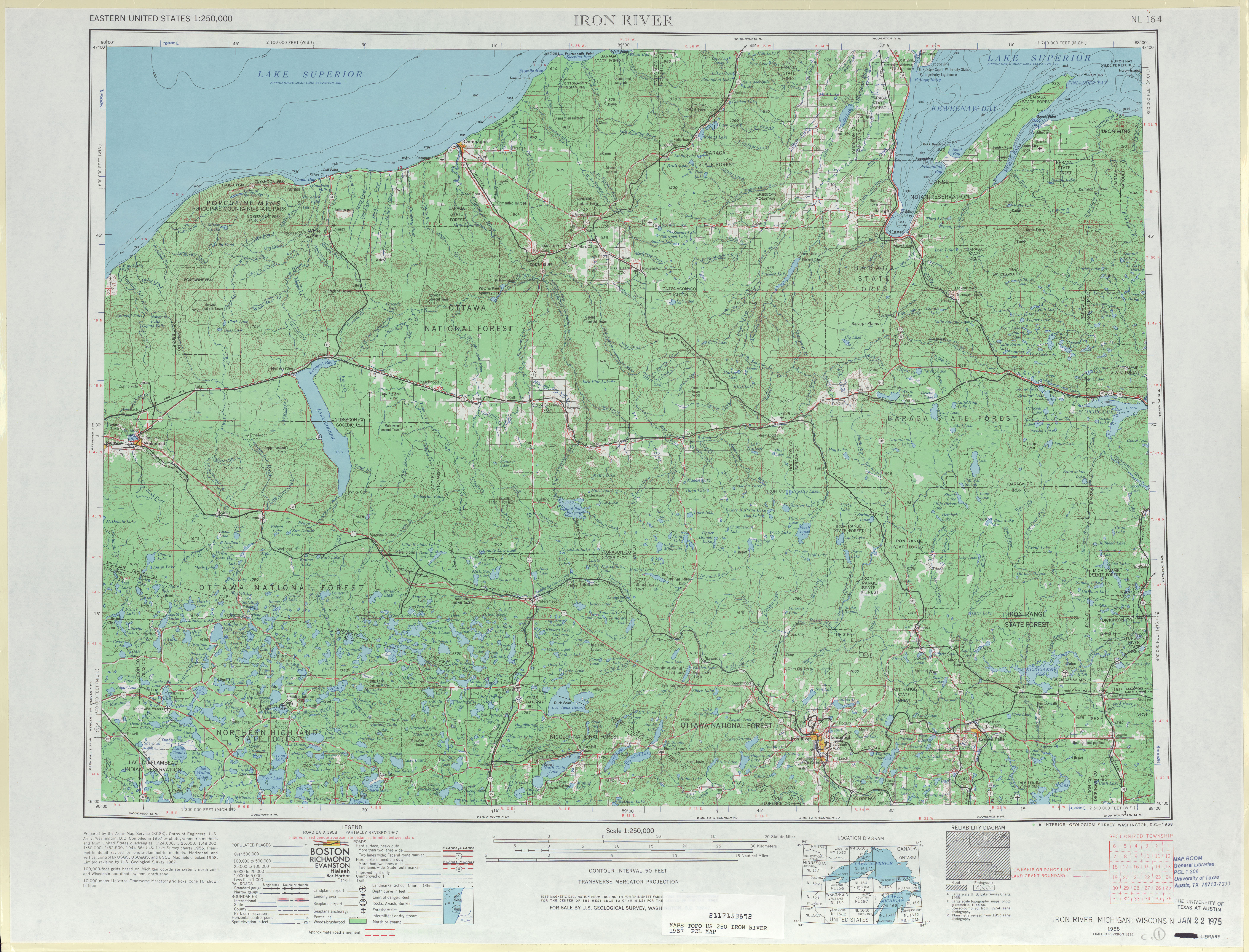 Hoja Iron Riverdel Mapa Topográfico de los Estados Unidos 1967