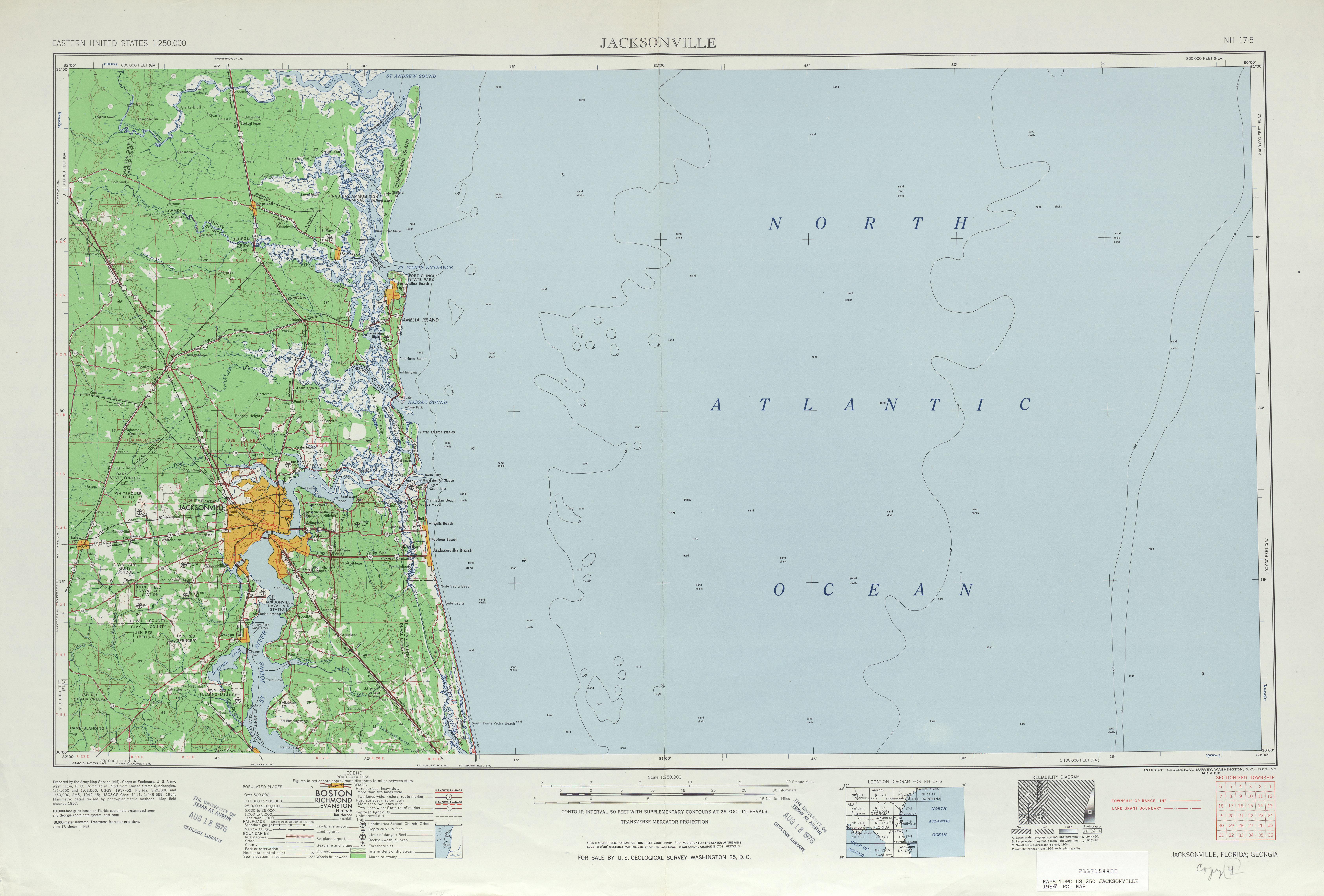 Hoja Jacksonville del Mapa Topográfico de los Estados Unidos 1957