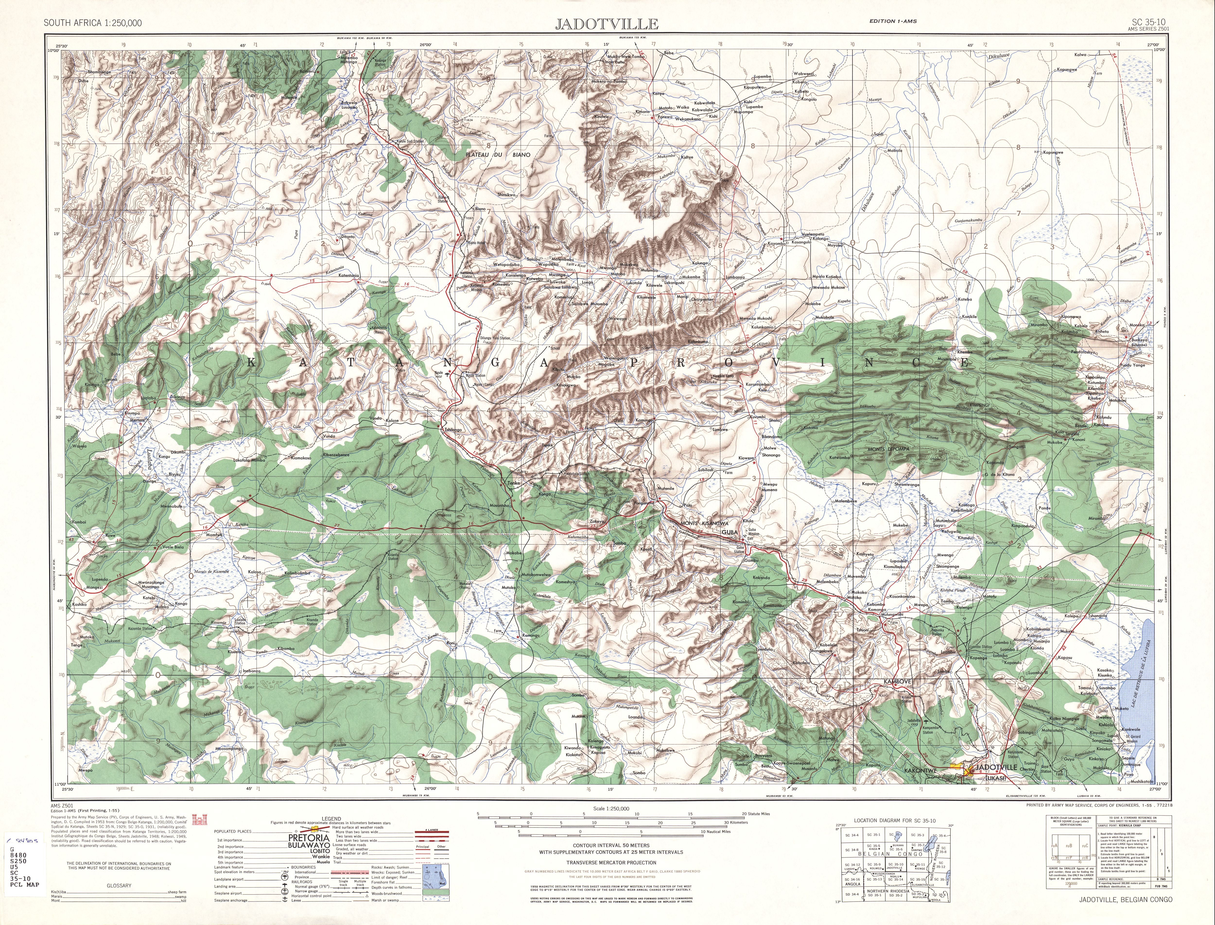 Jadotville Topographic Map Sheet, Southern Africa 1954