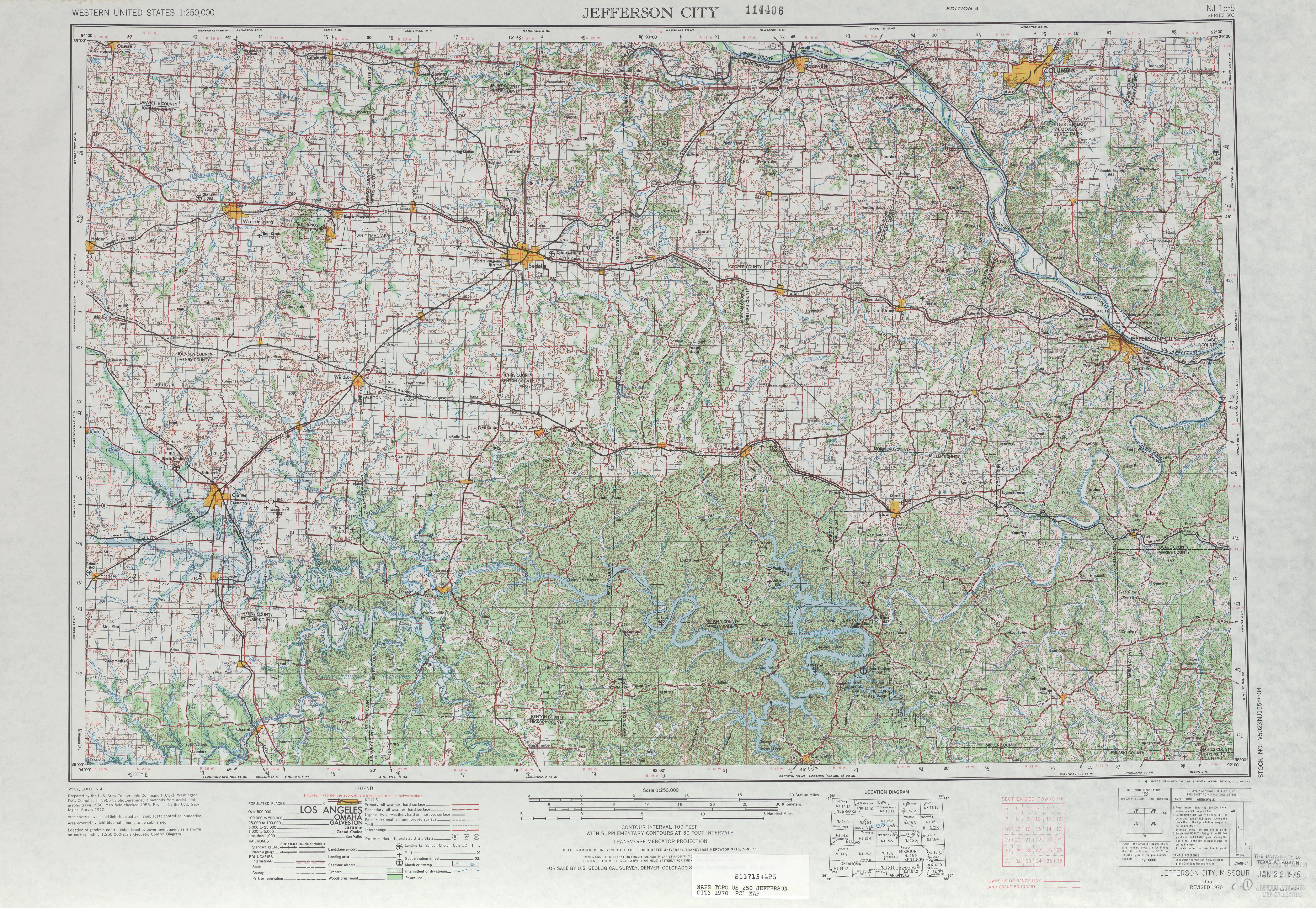 Hoja Jefferson City del Mapa Topográfico de los Estados Unidos 1970