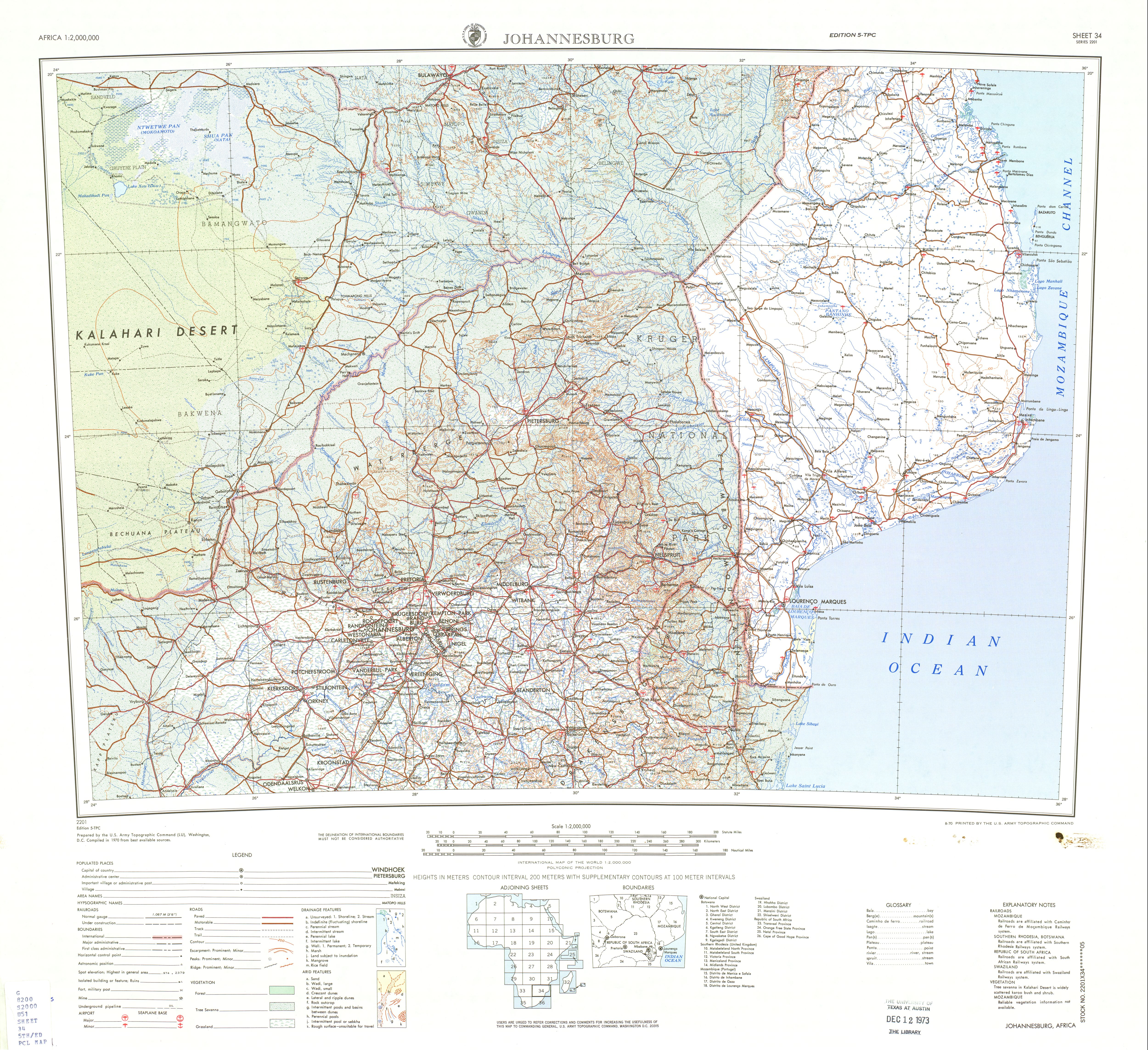 Johannesburg Topographic Sheet Map, Africa 1970
