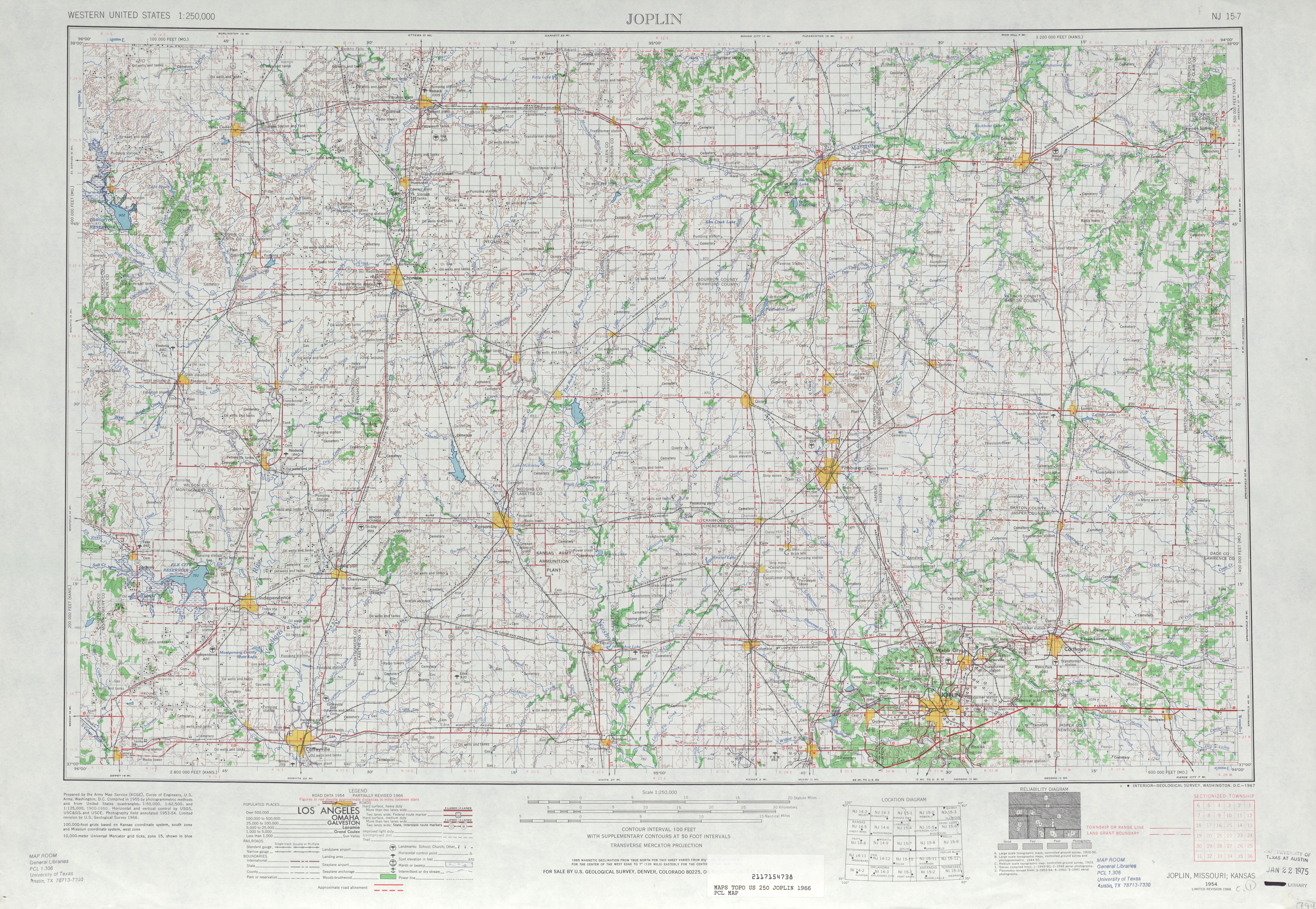 Joplin Topographic Map Sheet, United States 1966