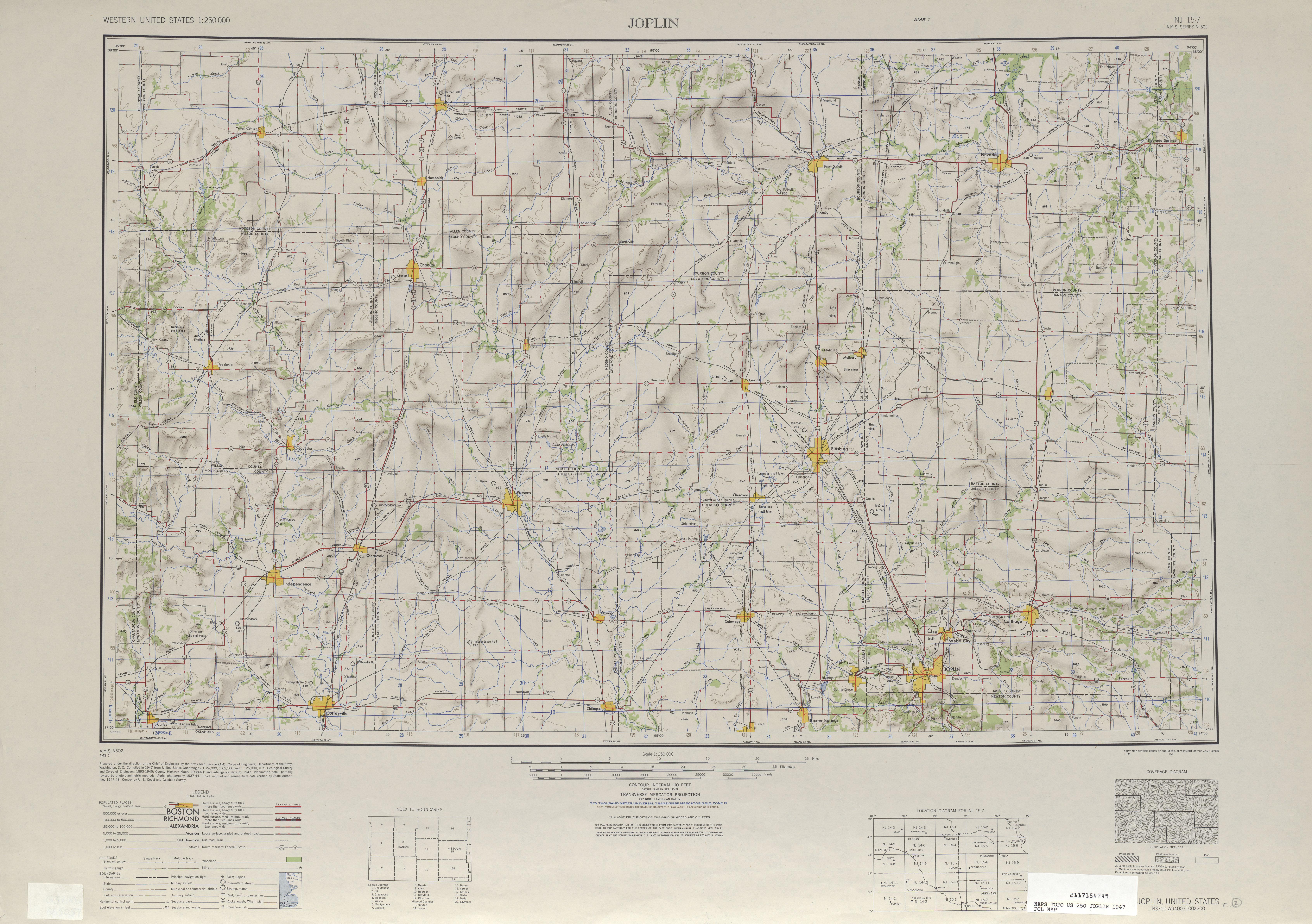 Hoja Joplin del Mapa de Relieve Sombreado de los Estados Unidos 1947