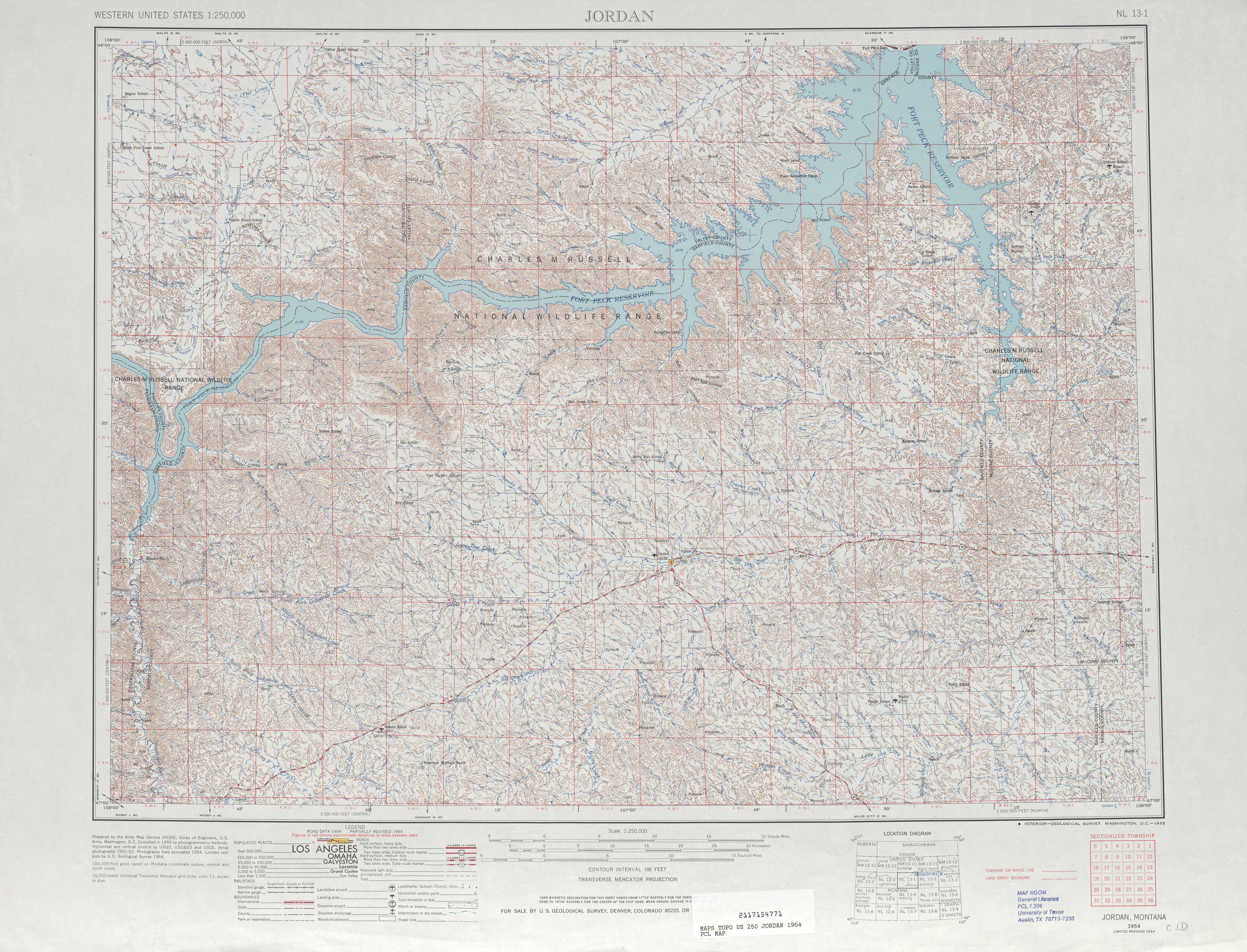 Hoja Jordania del Mapa Topográfico de los Estados Unidos 1964