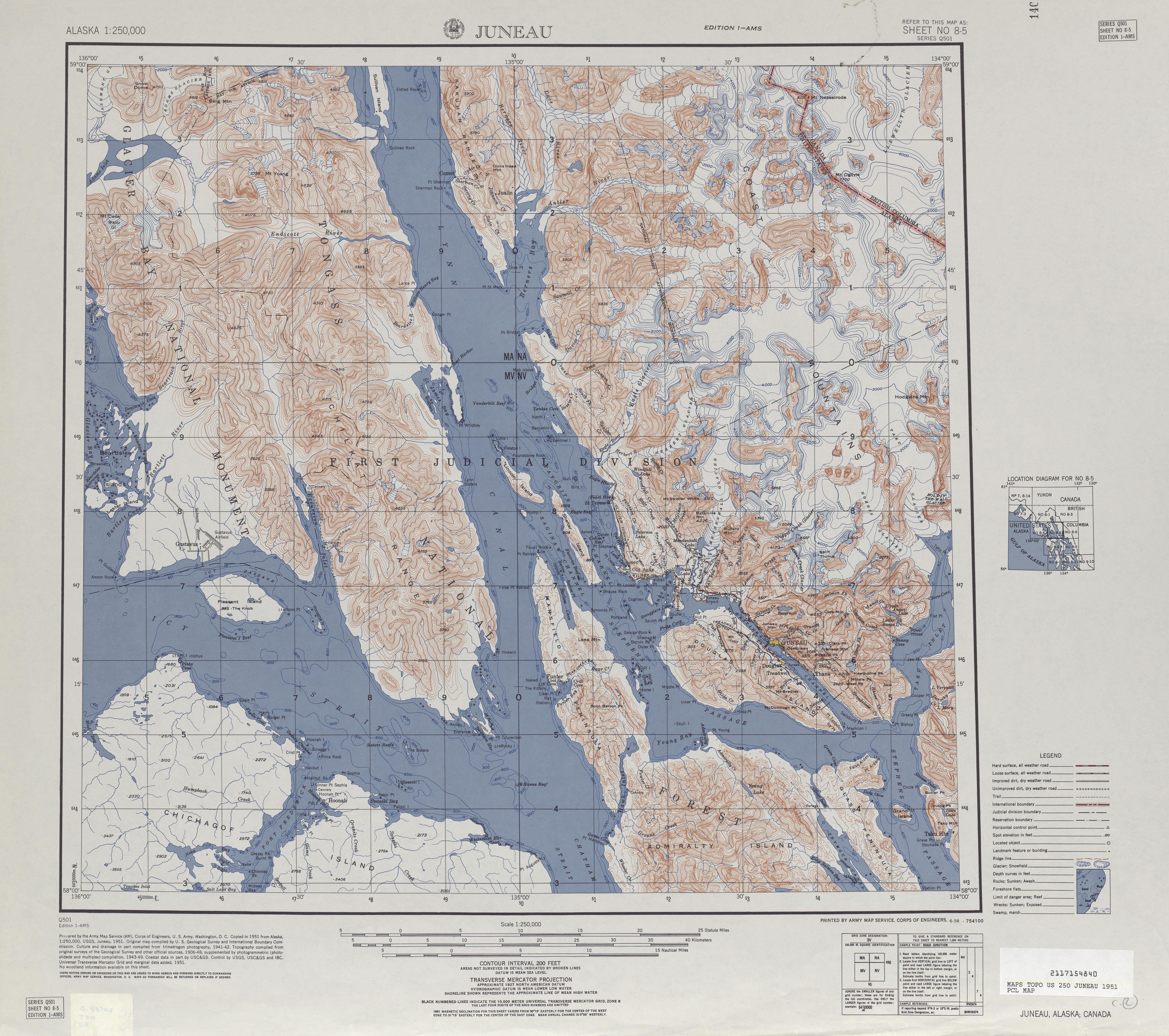 Hoja Juneau del Mapa Topográfico de los Estados Unidos 1951