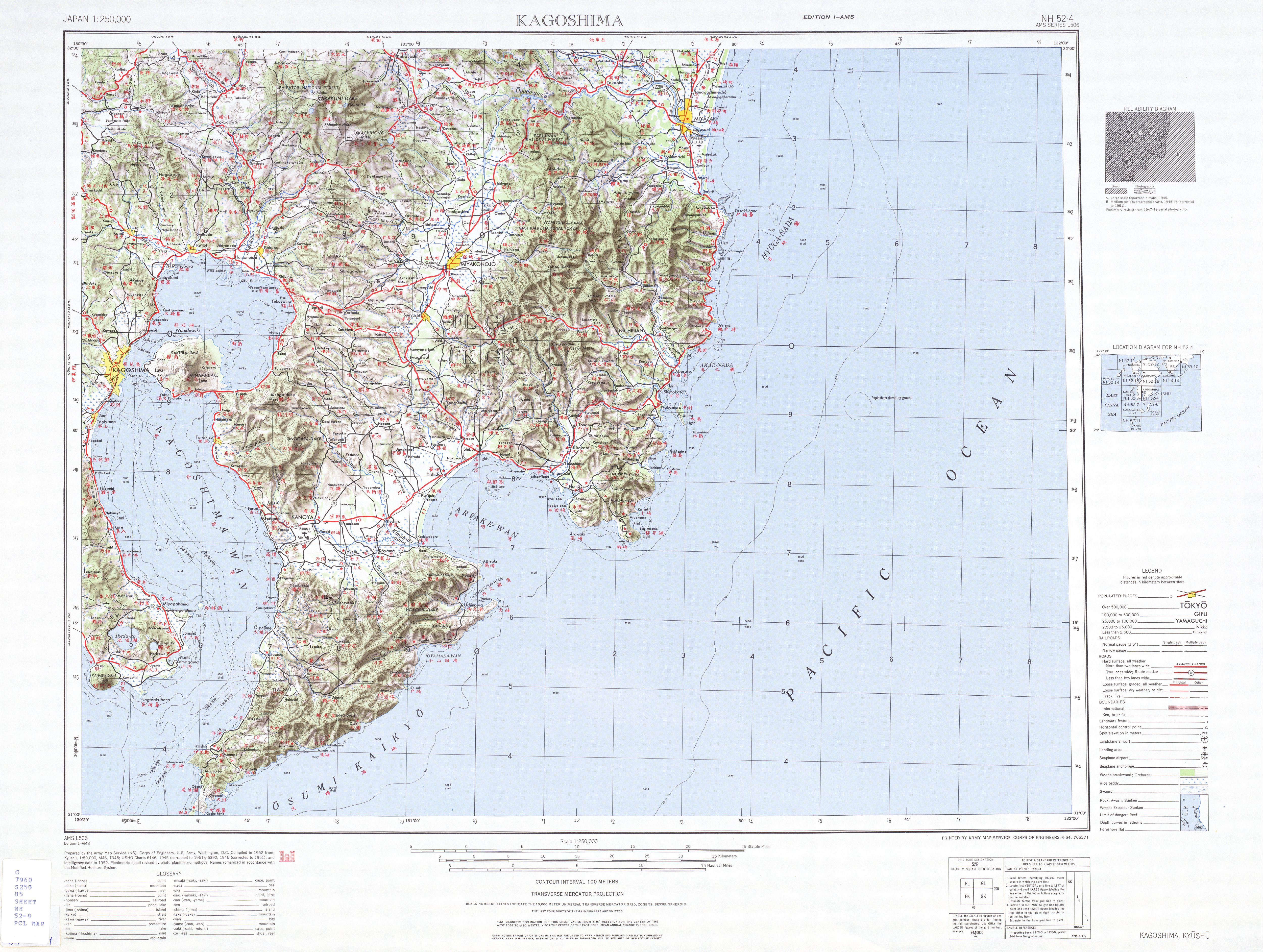 Kagoshima Topographic Map Sheet, Japan 1954