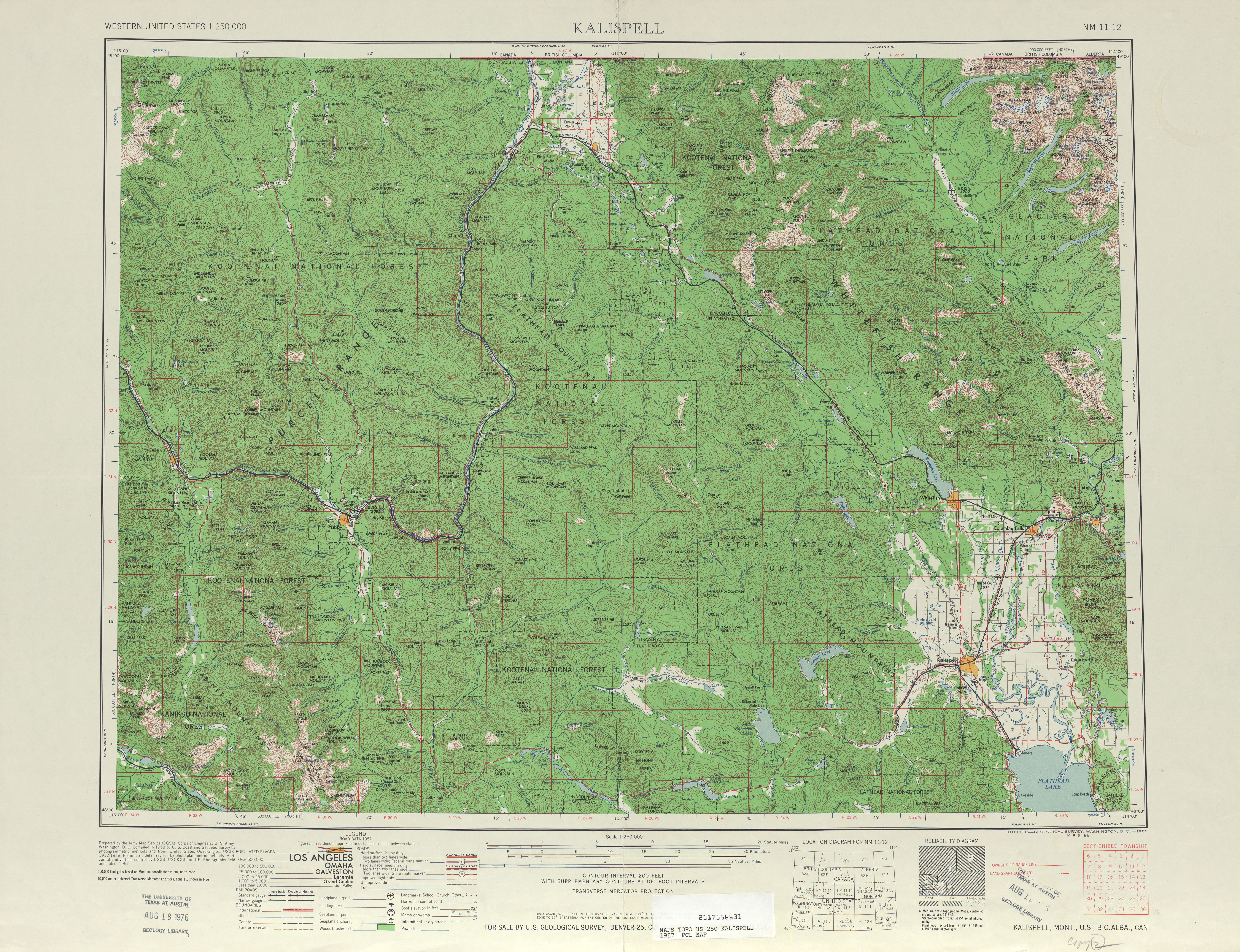 Kalispell Topographic Map Sheet, United States 1957