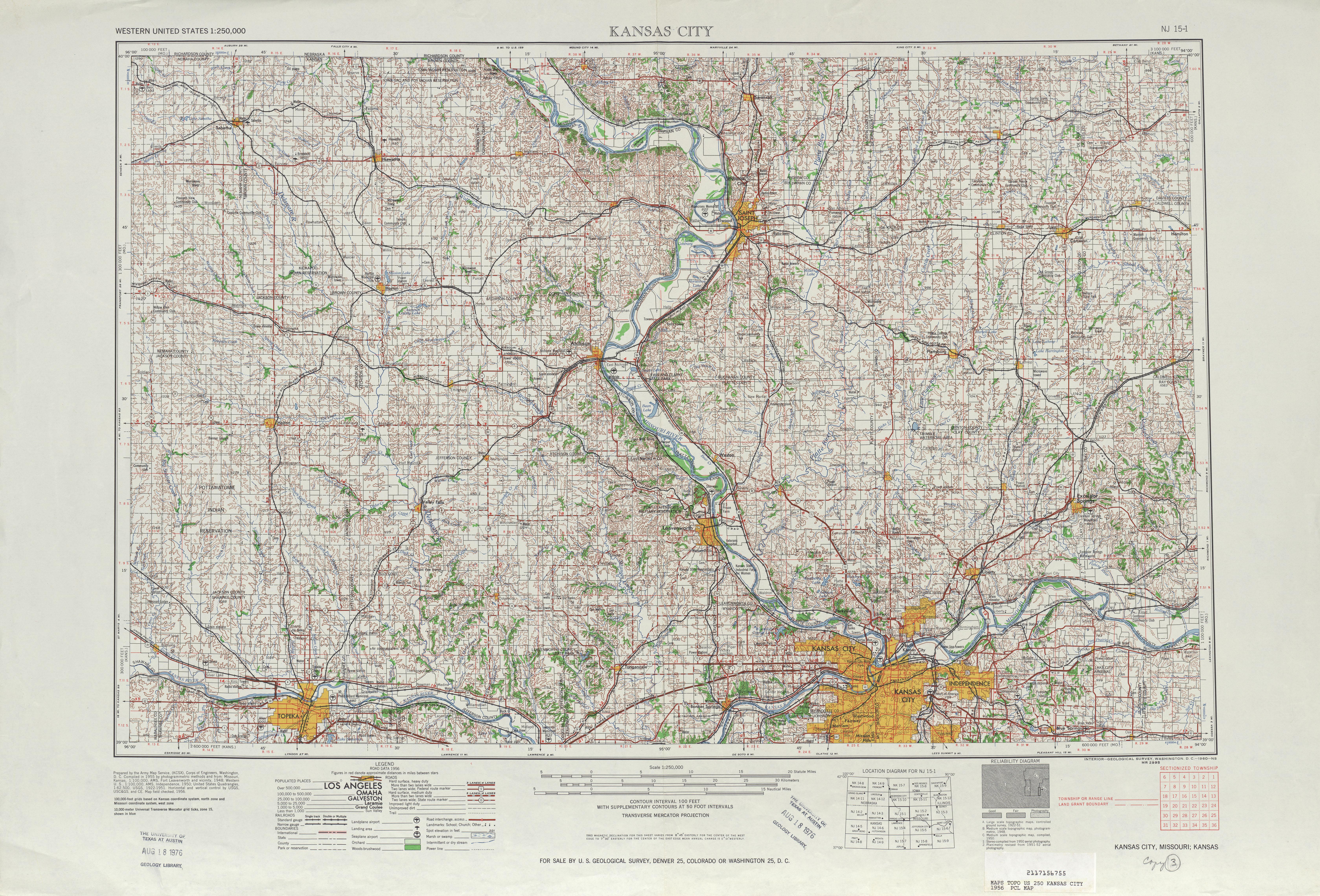 Hoja Kansas City del Mapa Topográfico de los Estados Unidos 1956