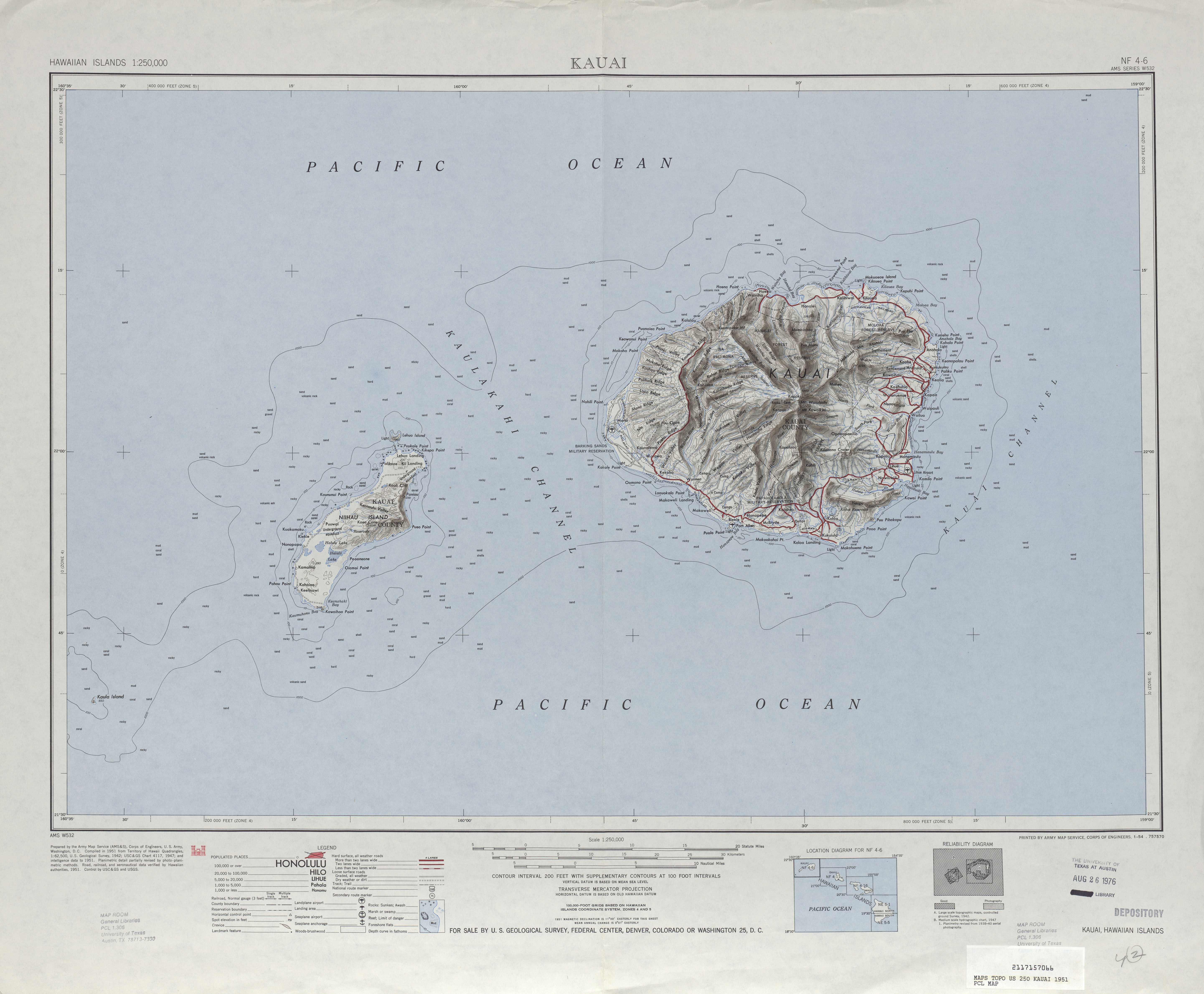 Kauai Shaded Relief Map Sheet, United States 1951